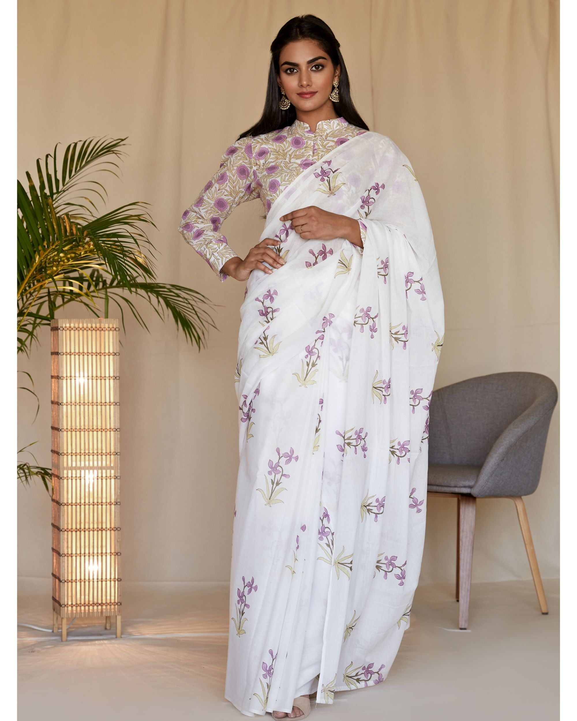Lilac lily block printed sari with blouse - Set Of Two