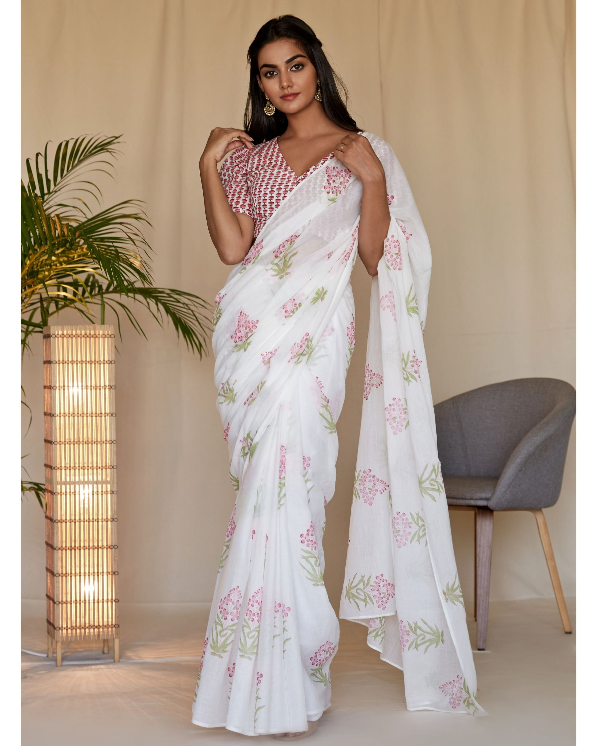 Pink cherry blossom block printed sari with blouse - Set Of Two