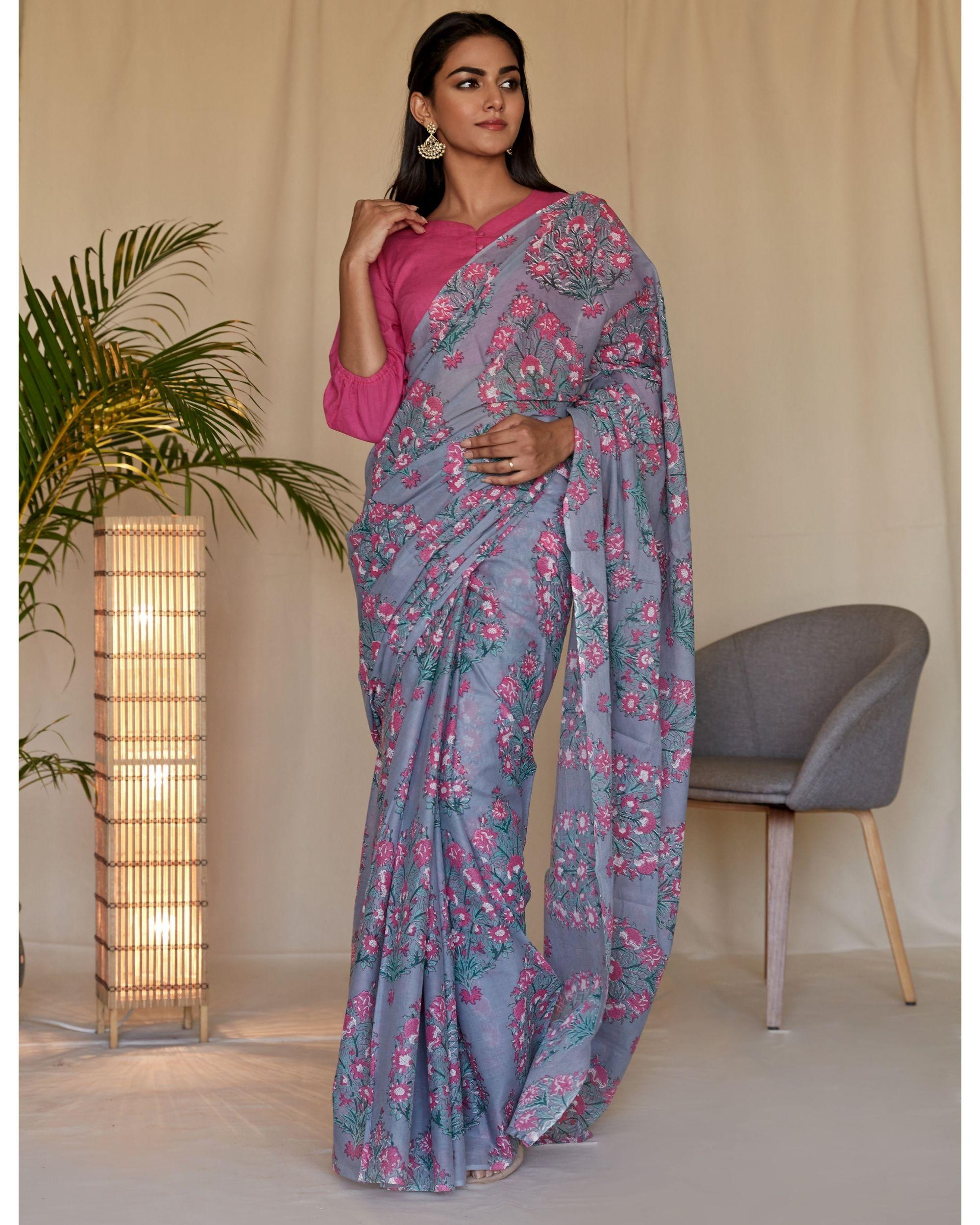 Grey mughal hand block printed sari