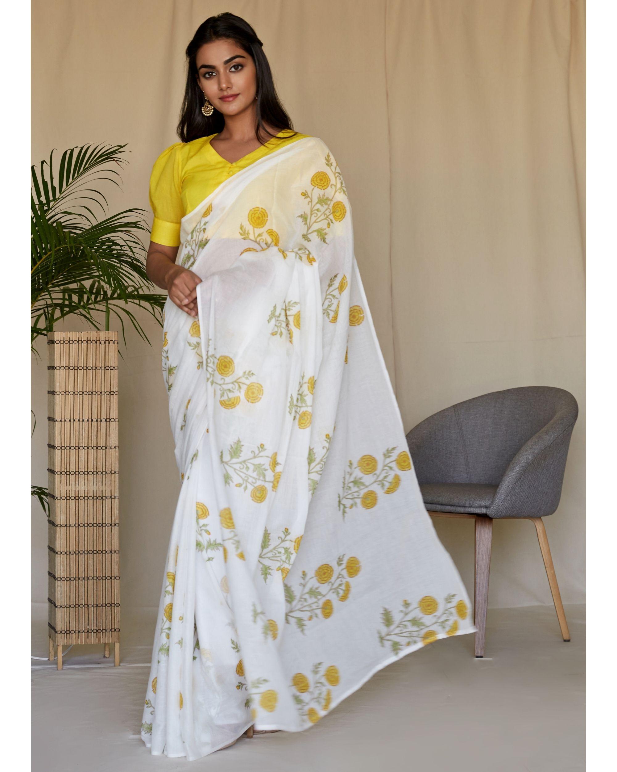 Yellow peony hand block printed sari