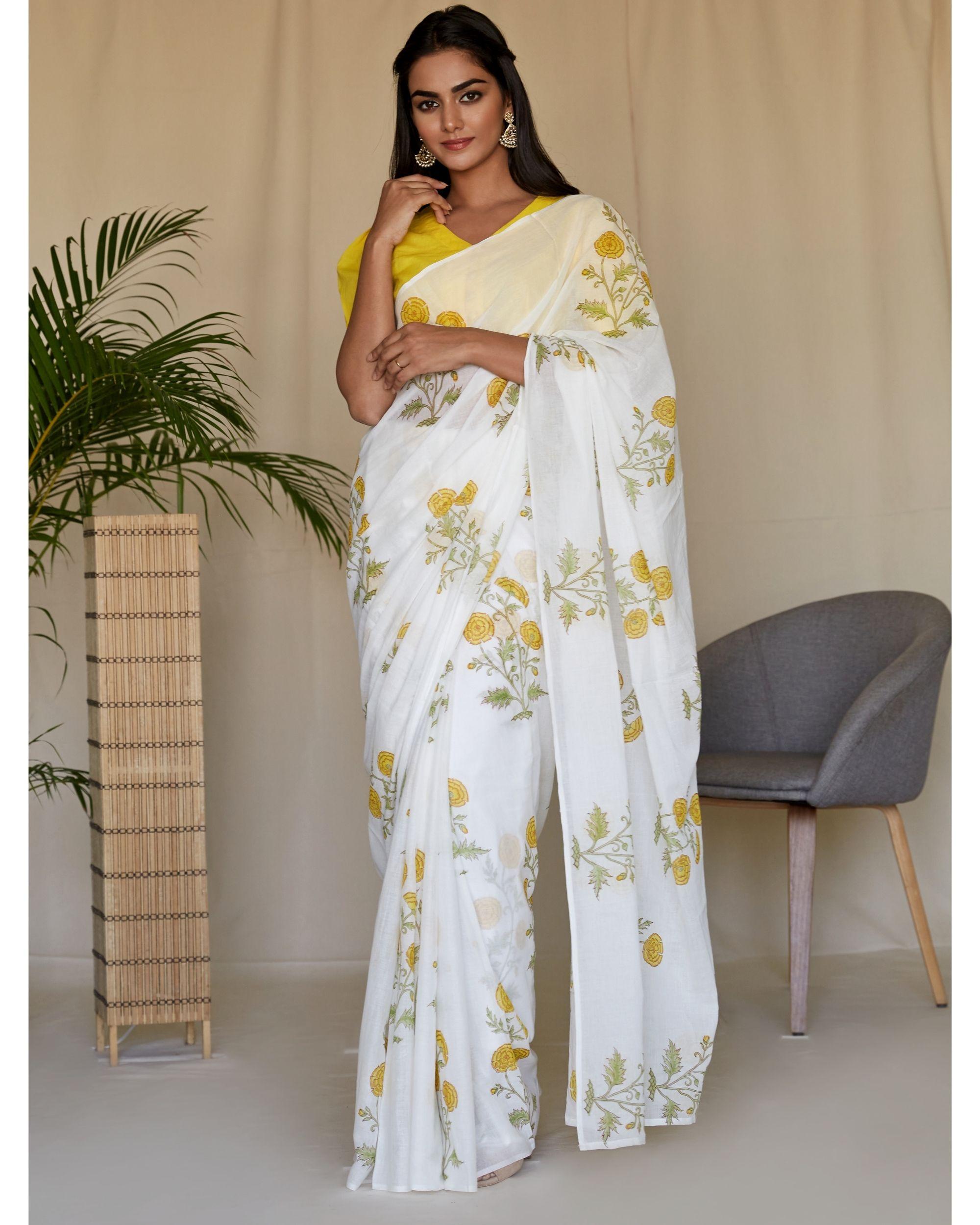 Yellow peony hand block printed sari and blouse - Set Of Two