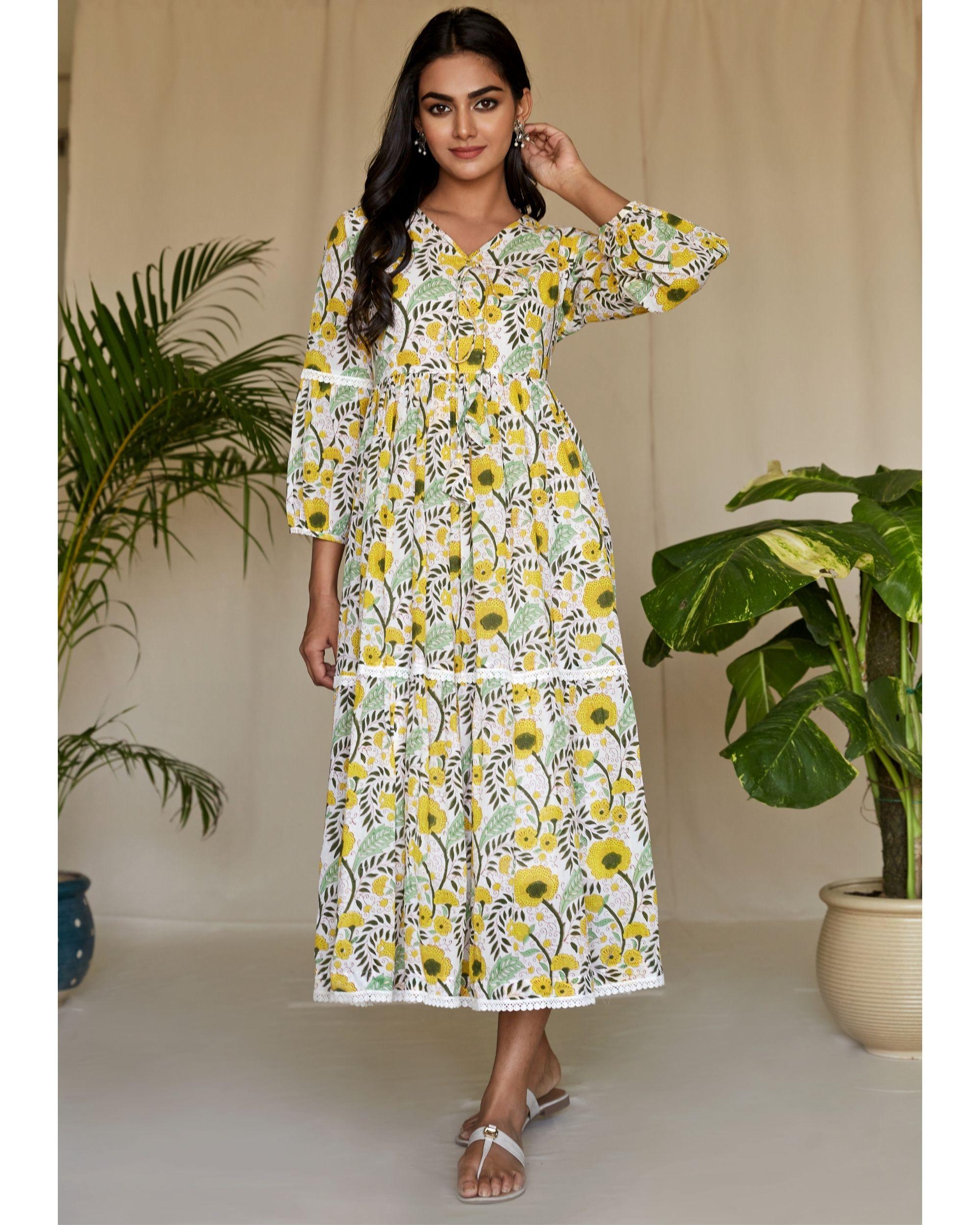 Yellow garden block printed tiered maxi dress