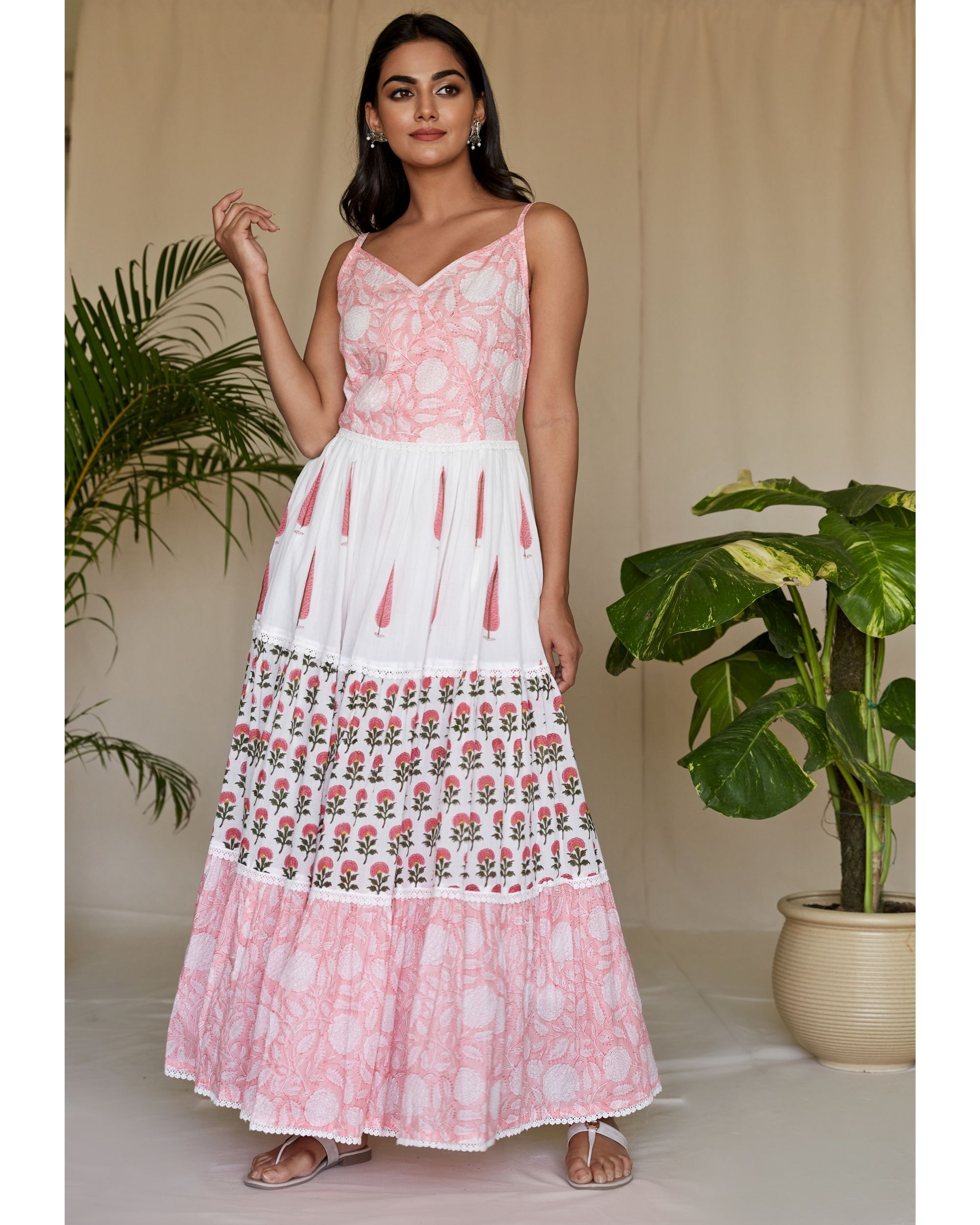 Pink floral block printed tiered maxi dress