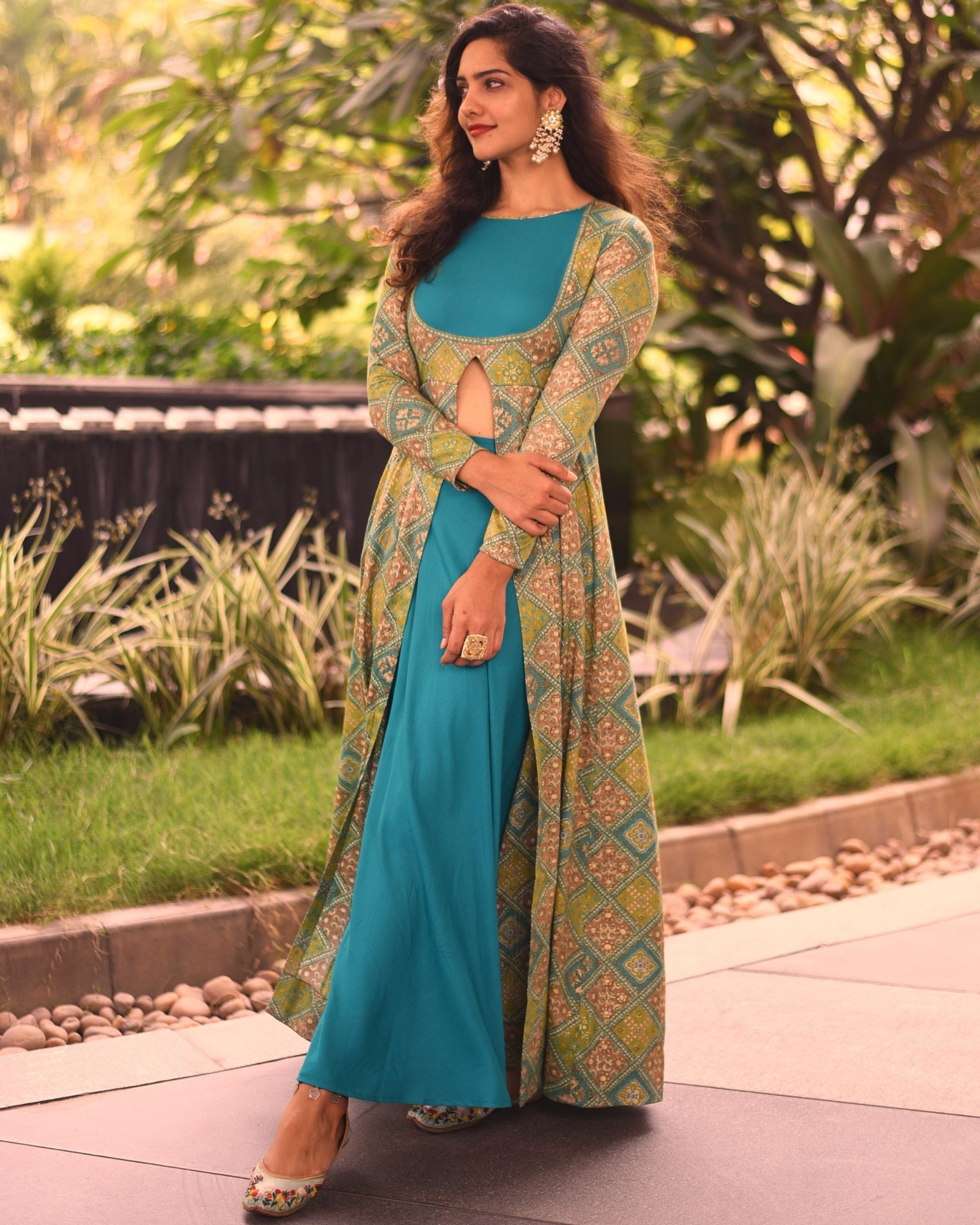 Olive green printed slit cape with sea green skirt - set of two