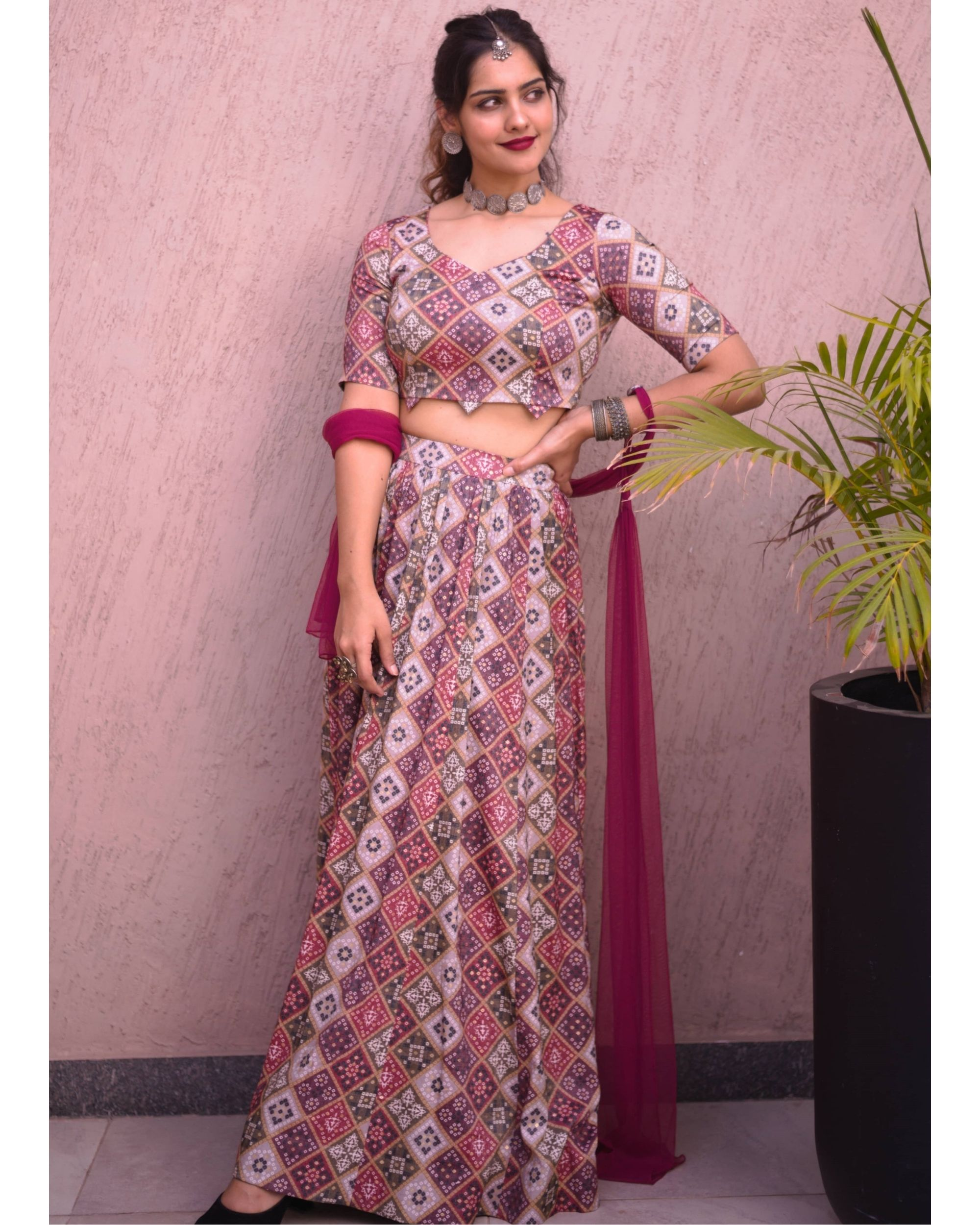 Beige gold and wine bandhej crop top and skirt with dupatta - set of three