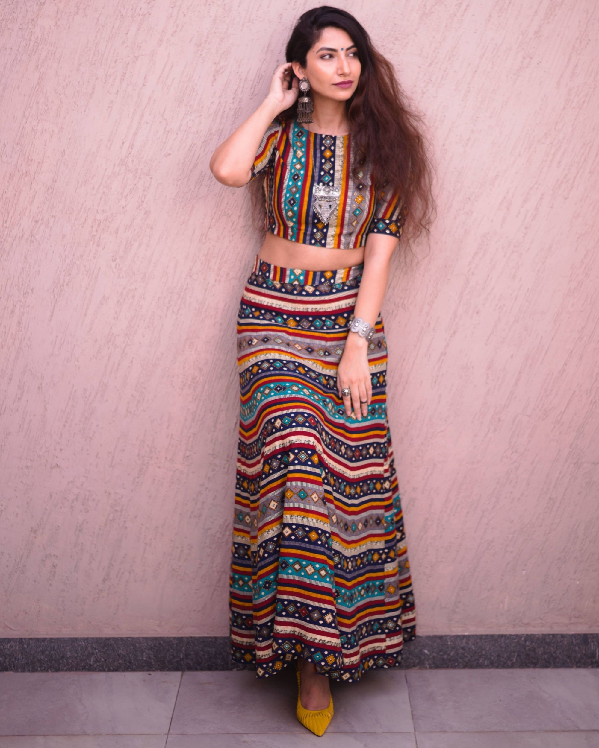 Multi color bandhej printed crop top and skirt - set of two
