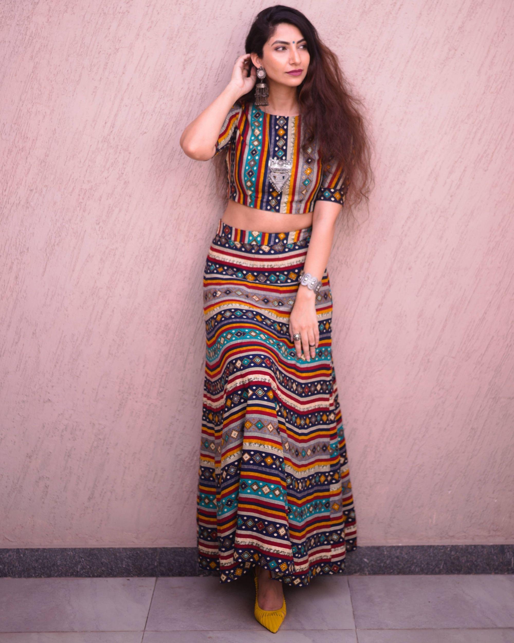 Multi color bandhej printed skirt