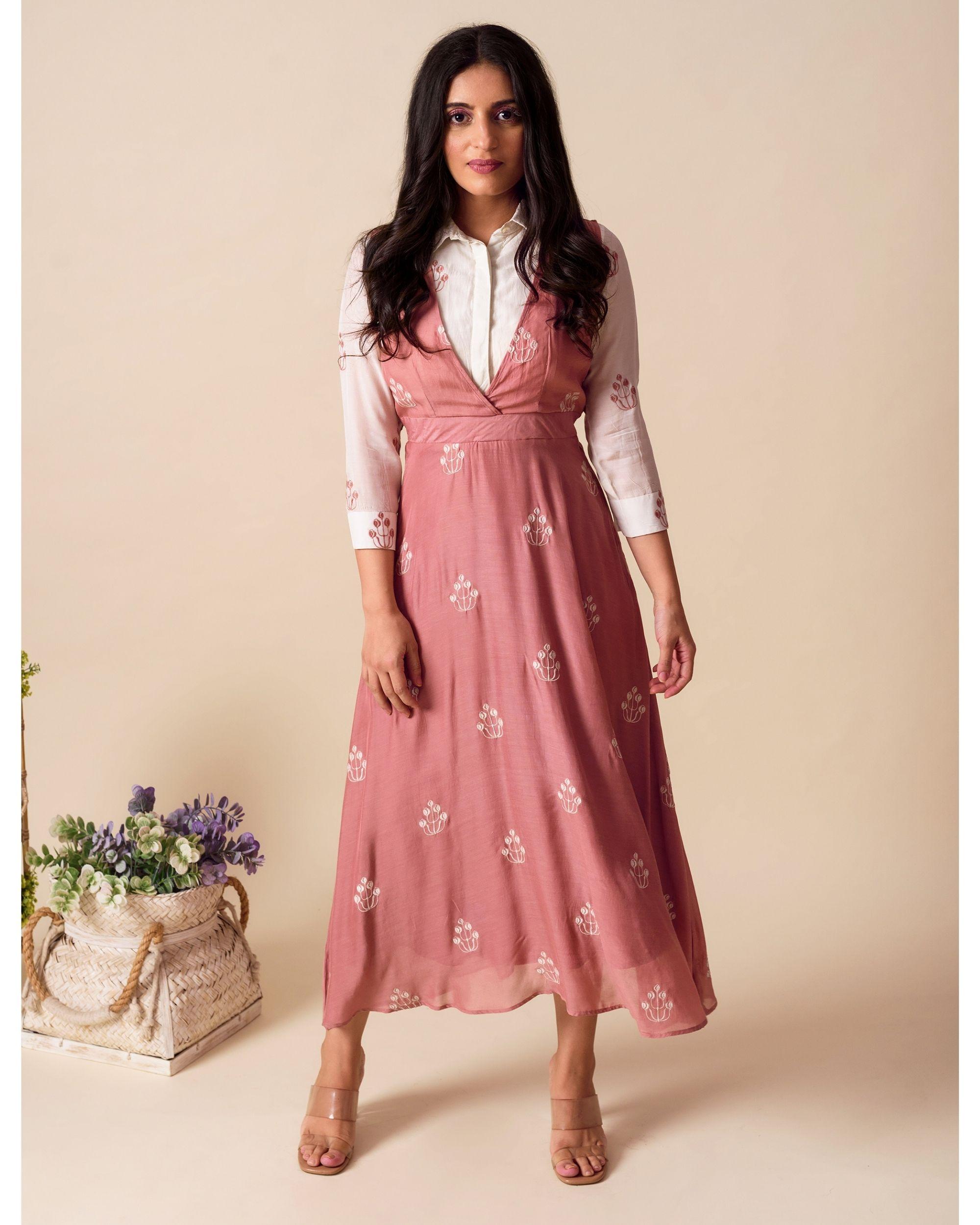 Deep pink embroidered shirt dress