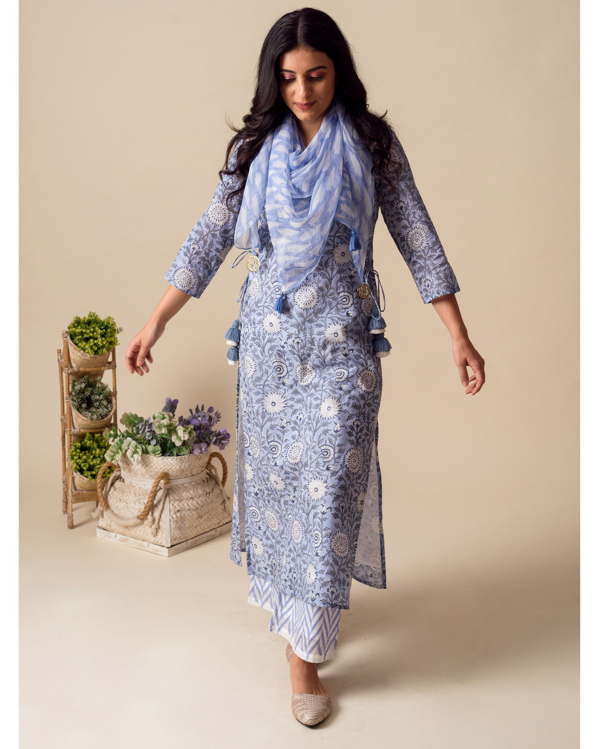 Powder blue floral hand block printed kurta and palazzo with stole - Set Of Three