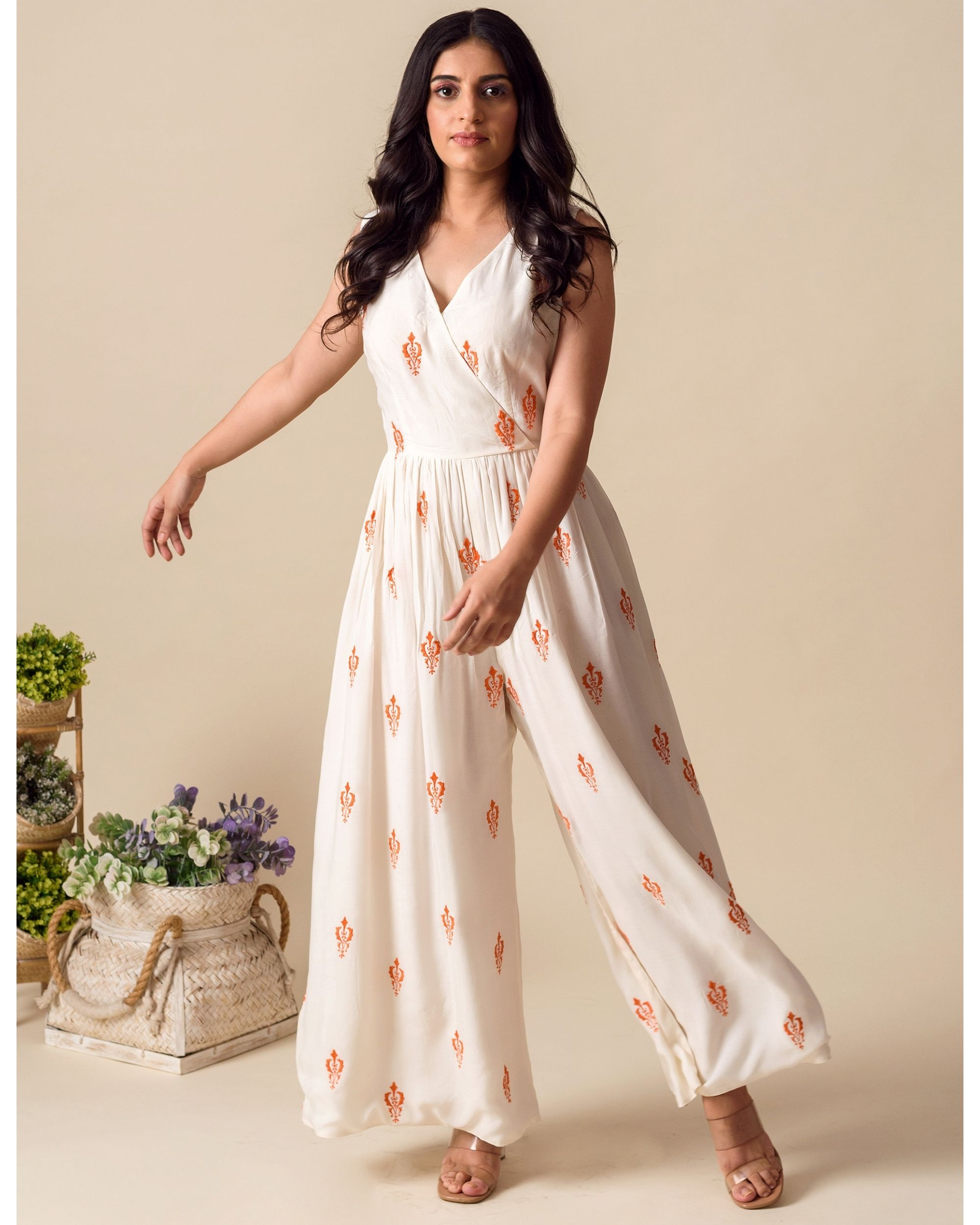White and orange moroccan embroidered wrap jumpsuit