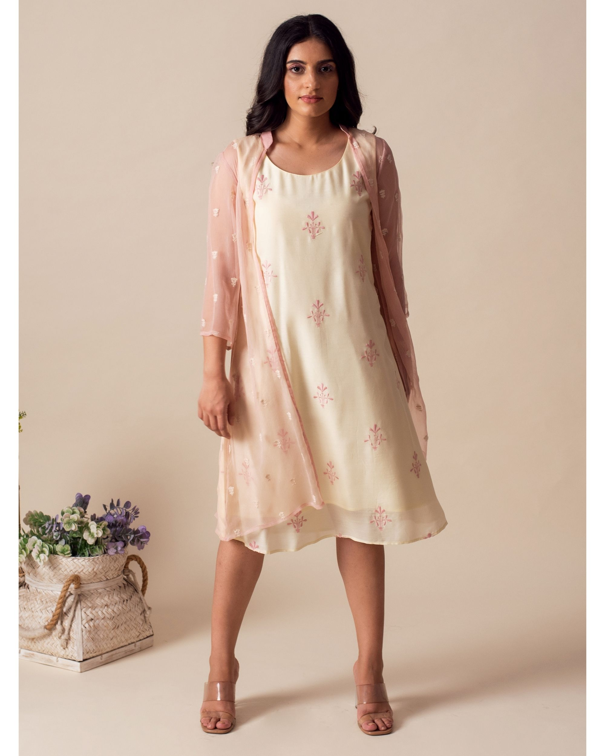 Light lemon embroidered dress with chiffon cover-up - Set Of Two
