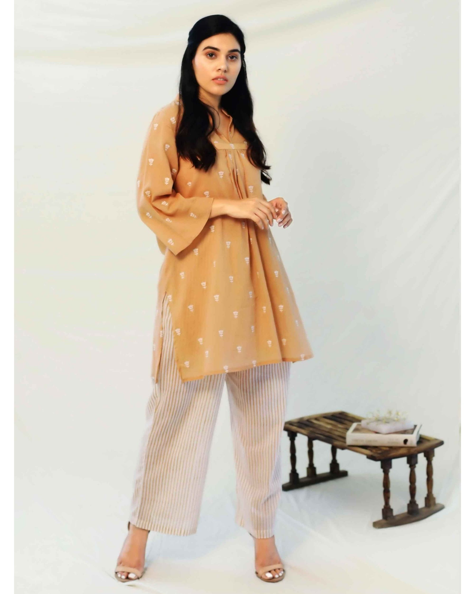 Beige boota collared top with pants - Set Of Two