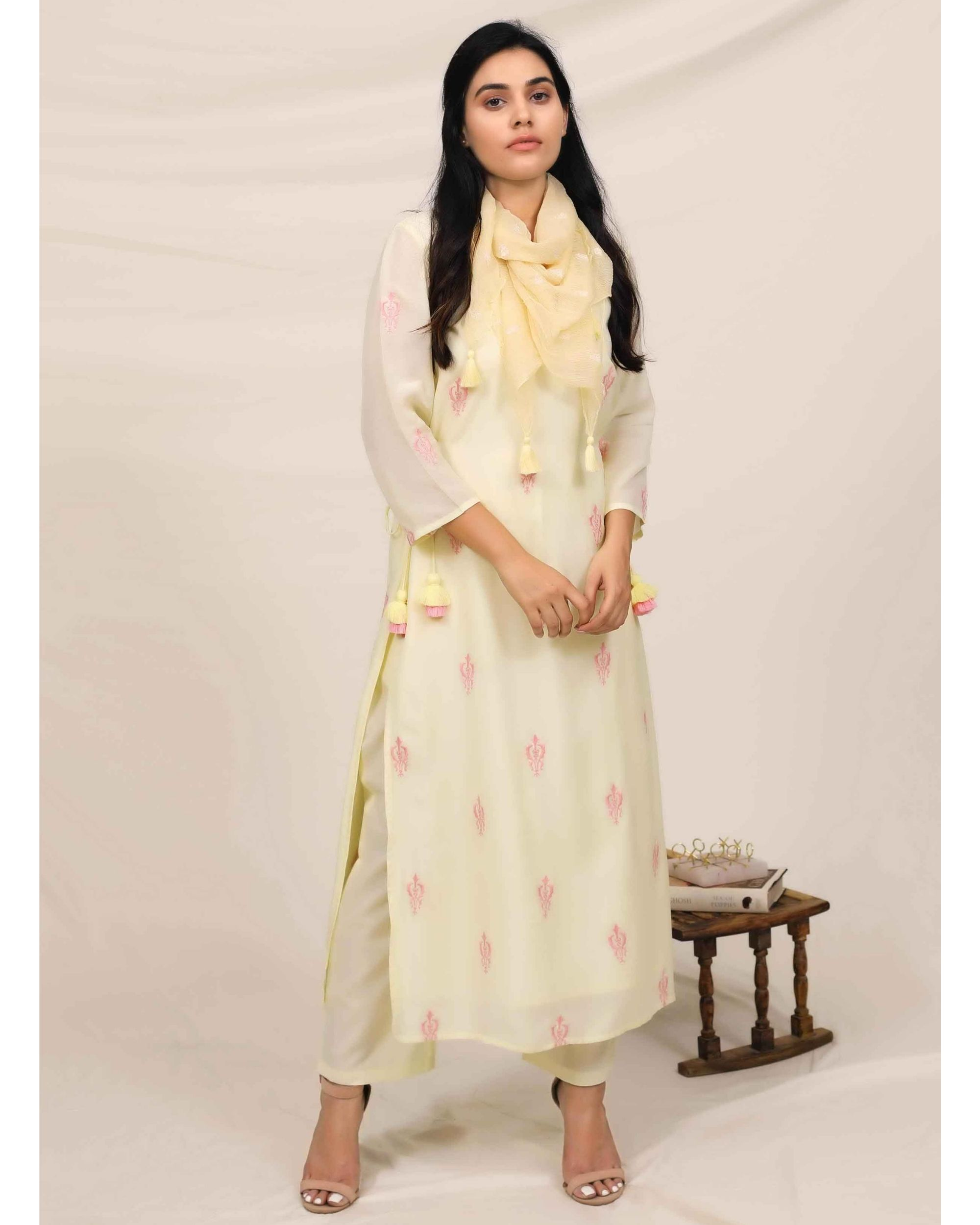Lemon yellow embroidered kurta and pants with stole - Set Of Three