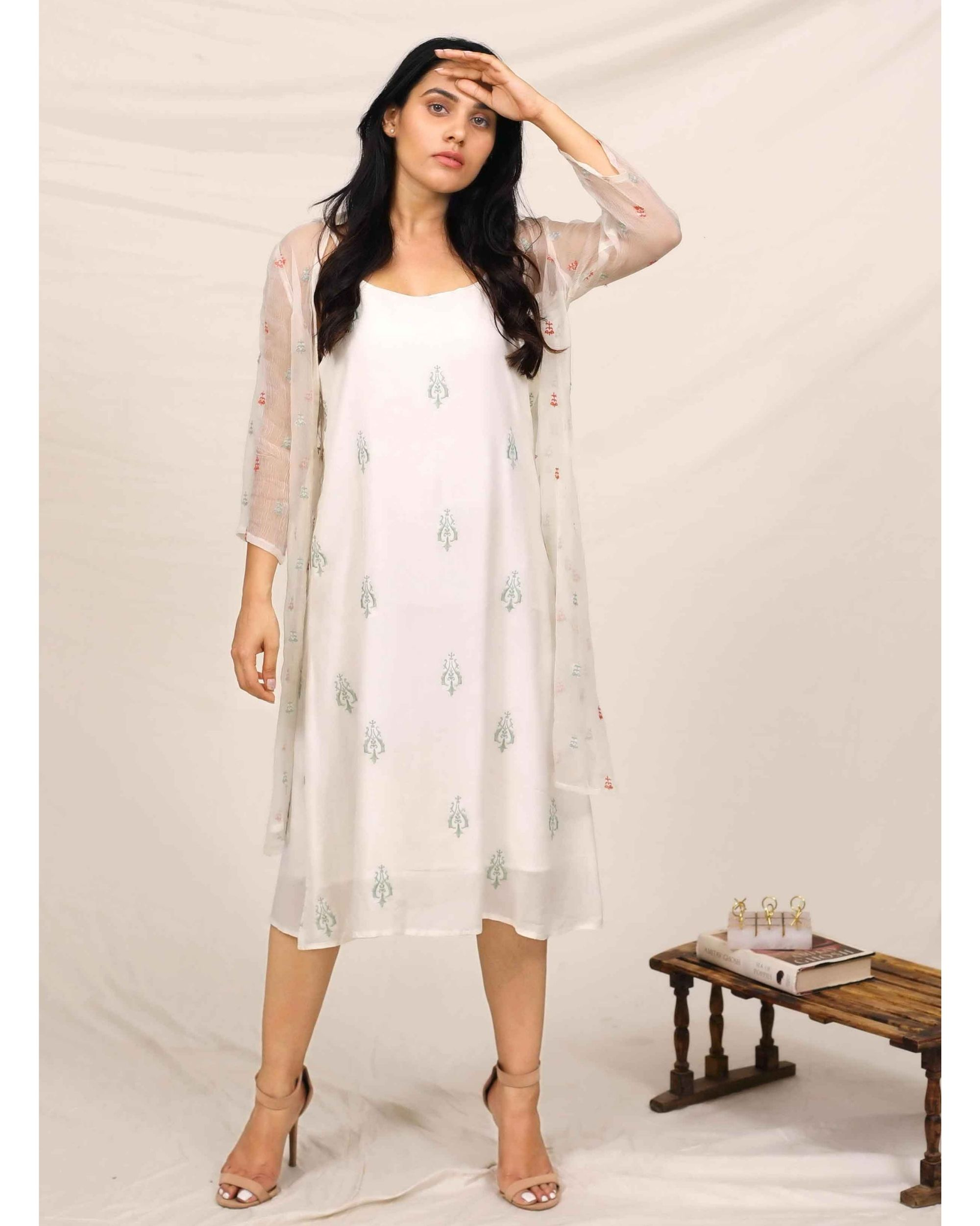 White embroidered dress with chiffon cover up - Set Of Two