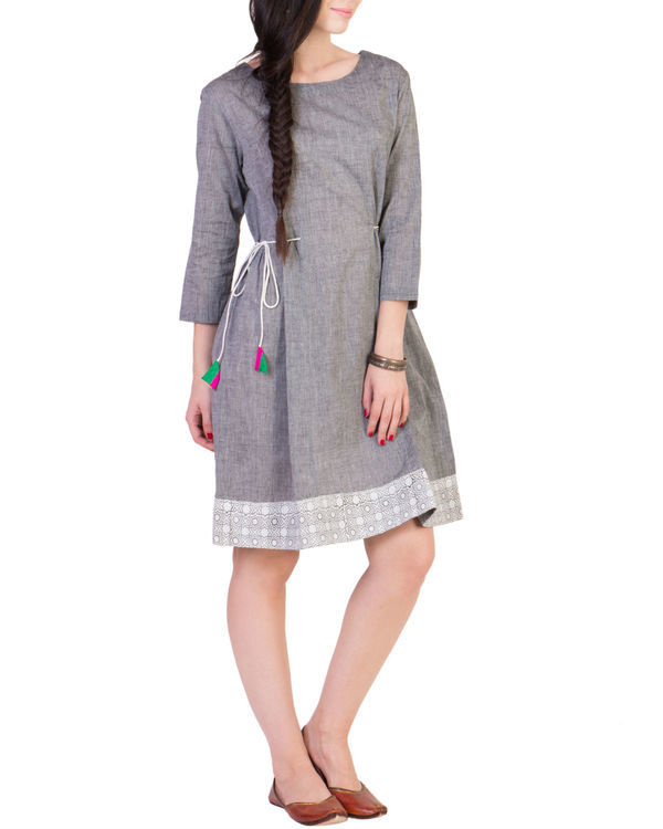 Grey tunic with printed border