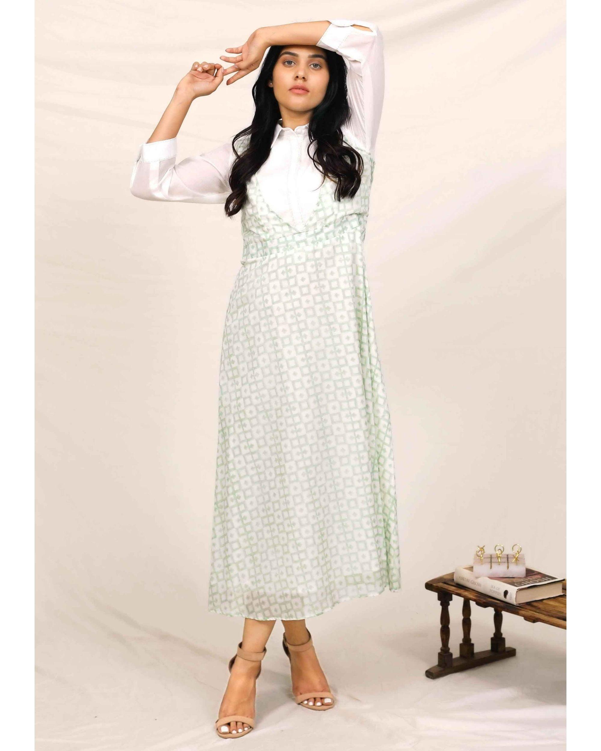 Mint green block printed asymmetrical shirt dress