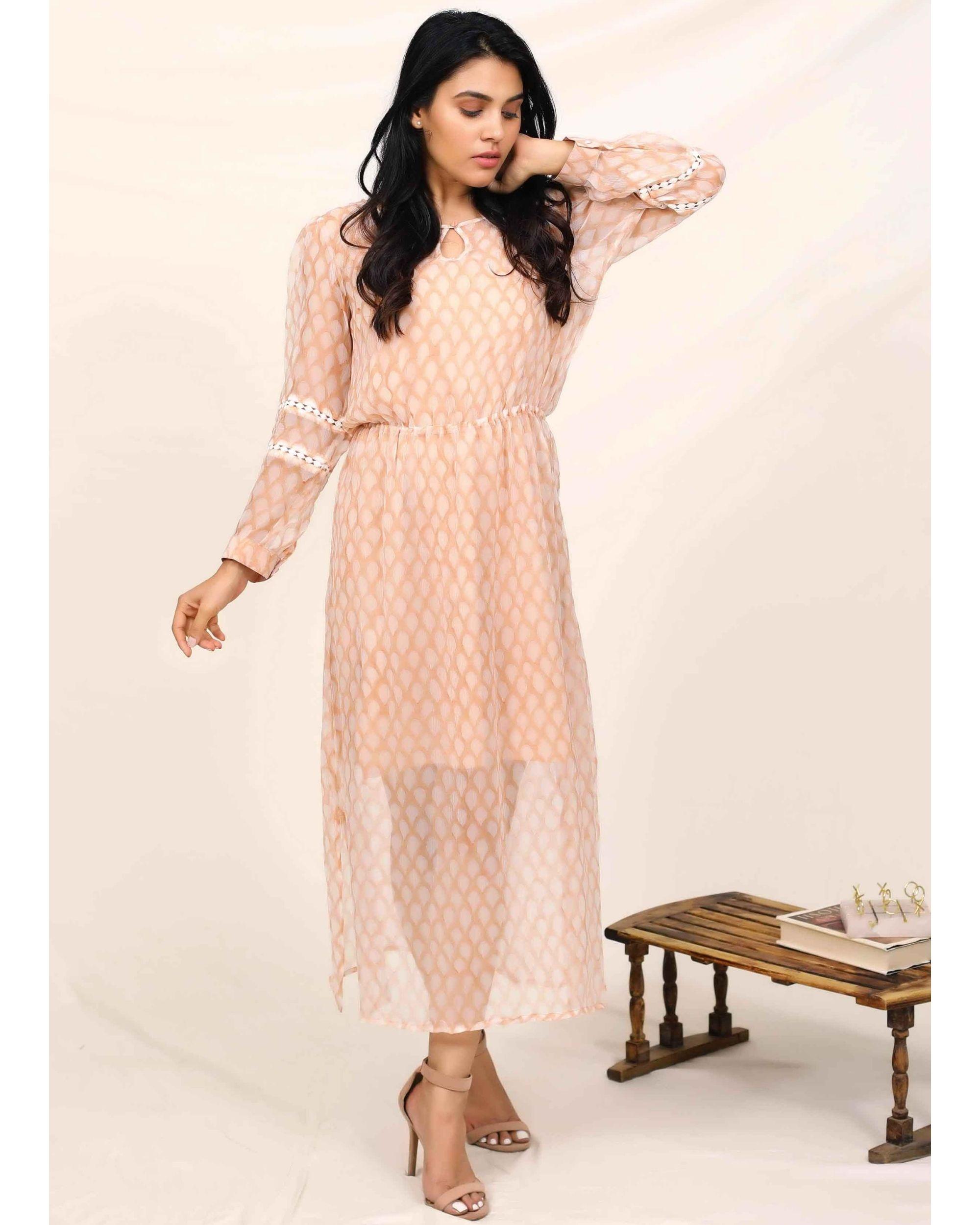 Peach hand block printed chiffon dress with slip - Set Of Two