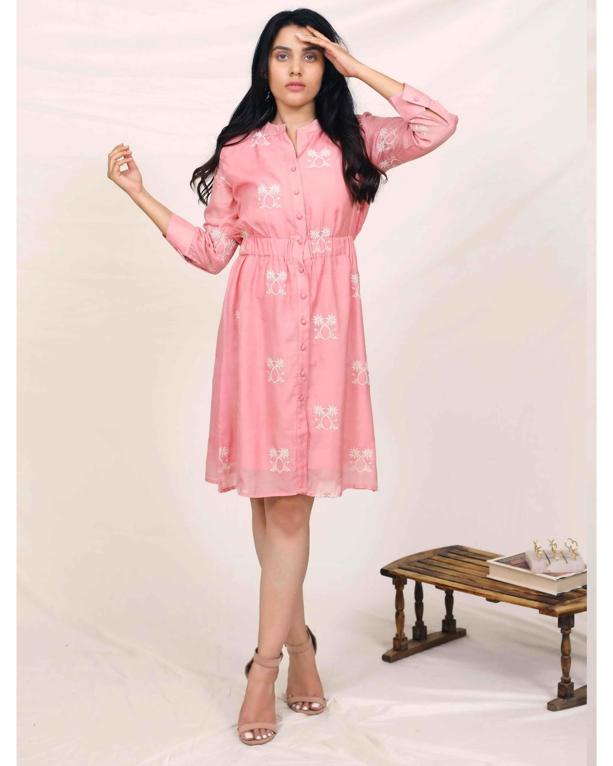Pink moroccan embroidered dress