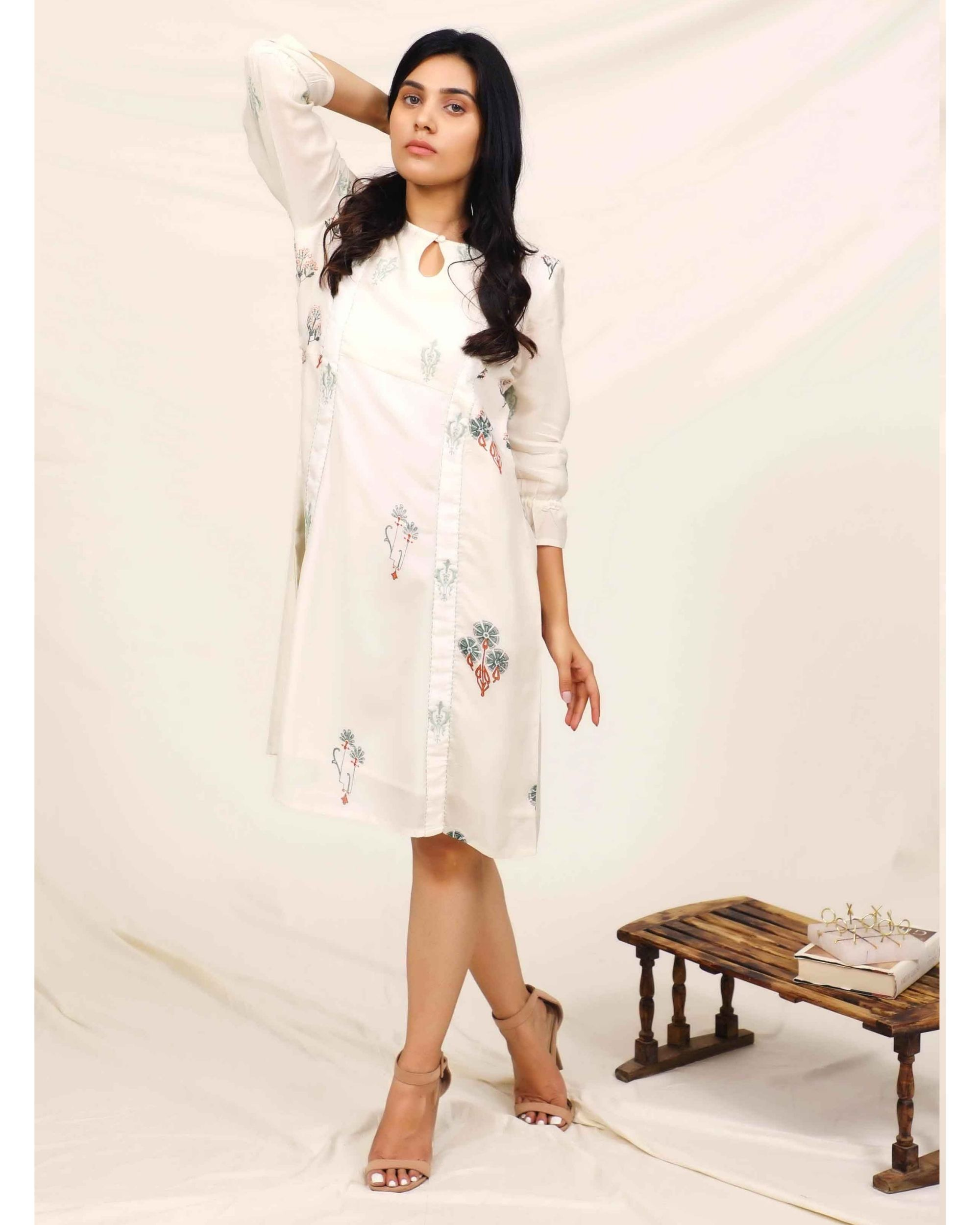 White moroccan printed embroidered dress