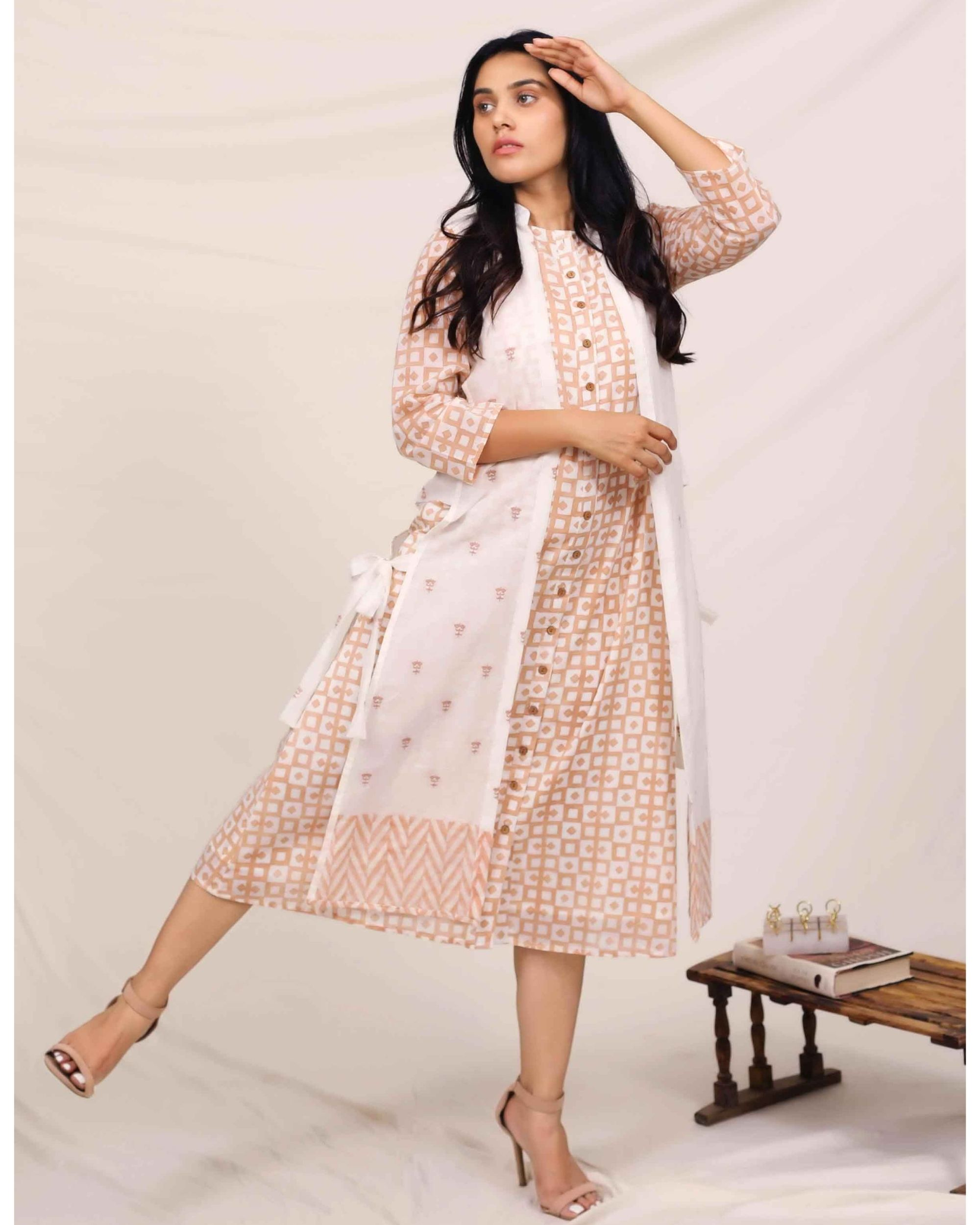 Peach geometric button down dress with embroidered jacket - Set Of Two