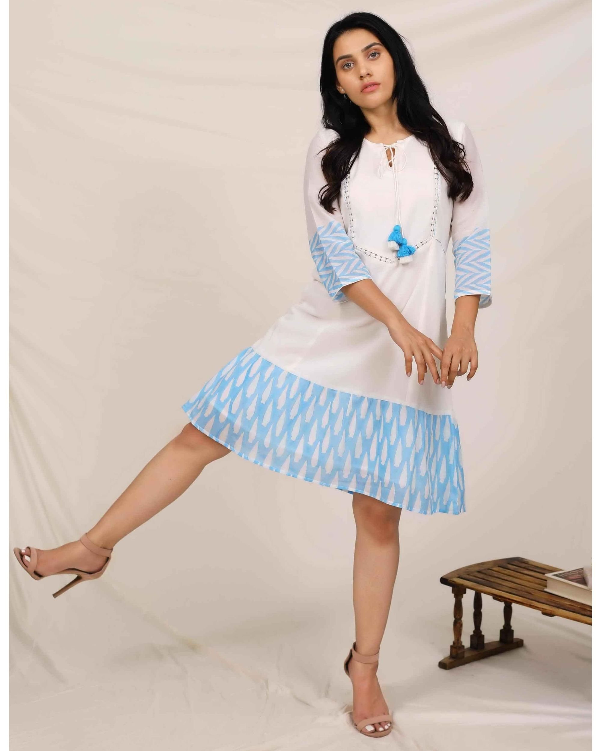 Aqua blue and white geometric hand printed dress