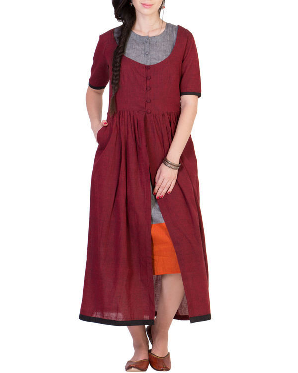 Maroon tunic with grey inner