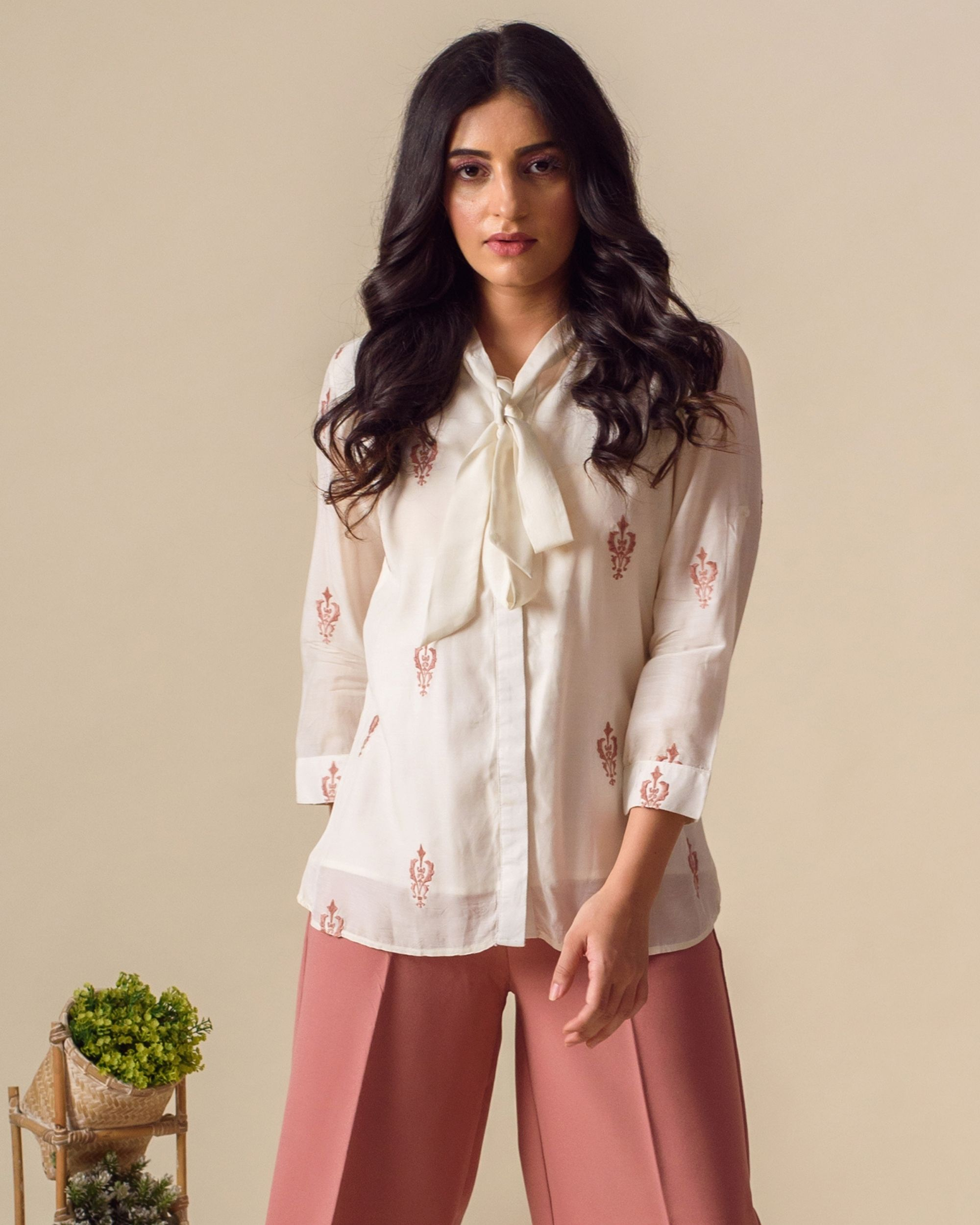 Off white embroidered tie-up shirt