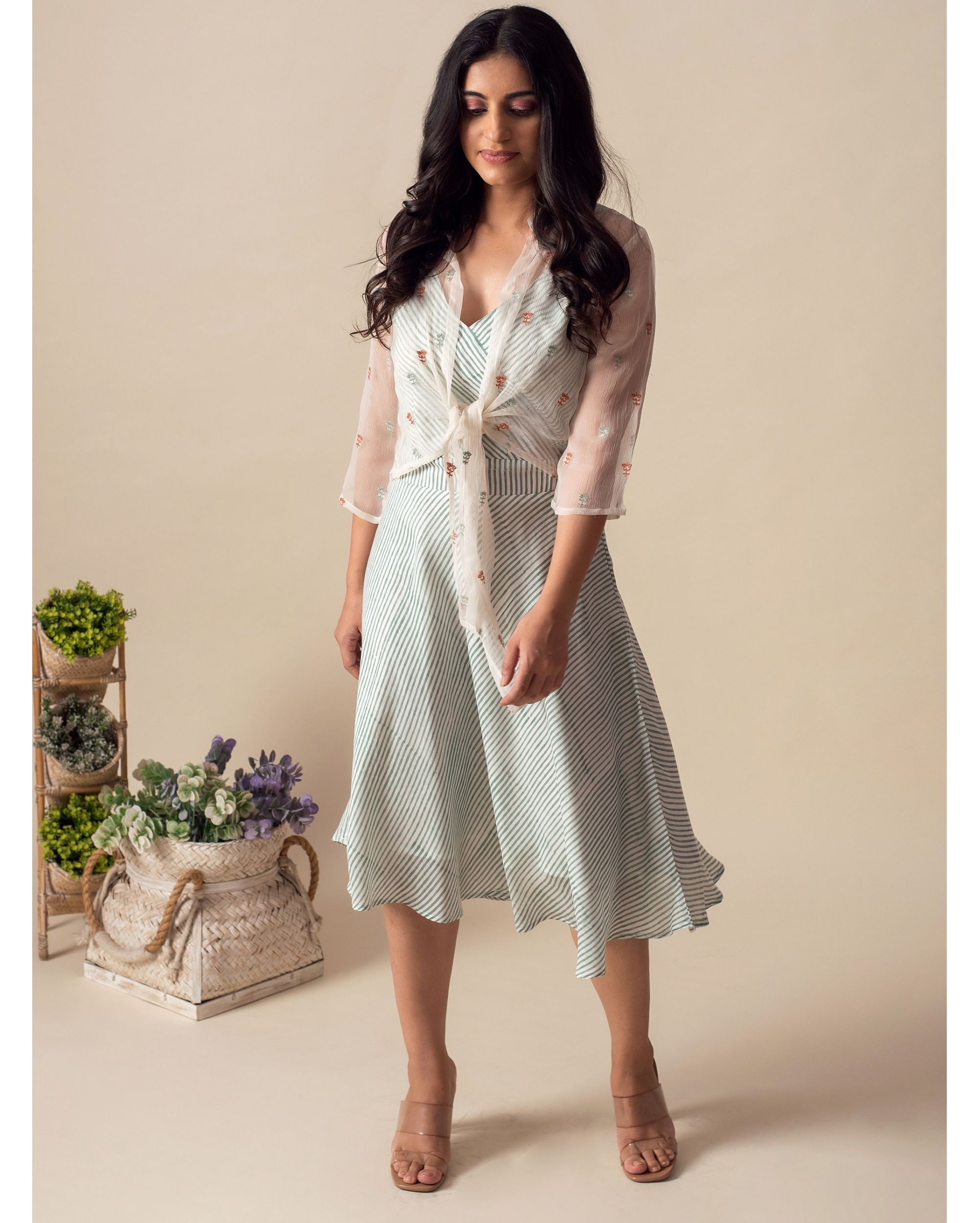 Light mint green stripes dress with chiffon cover-up - Set Of Two