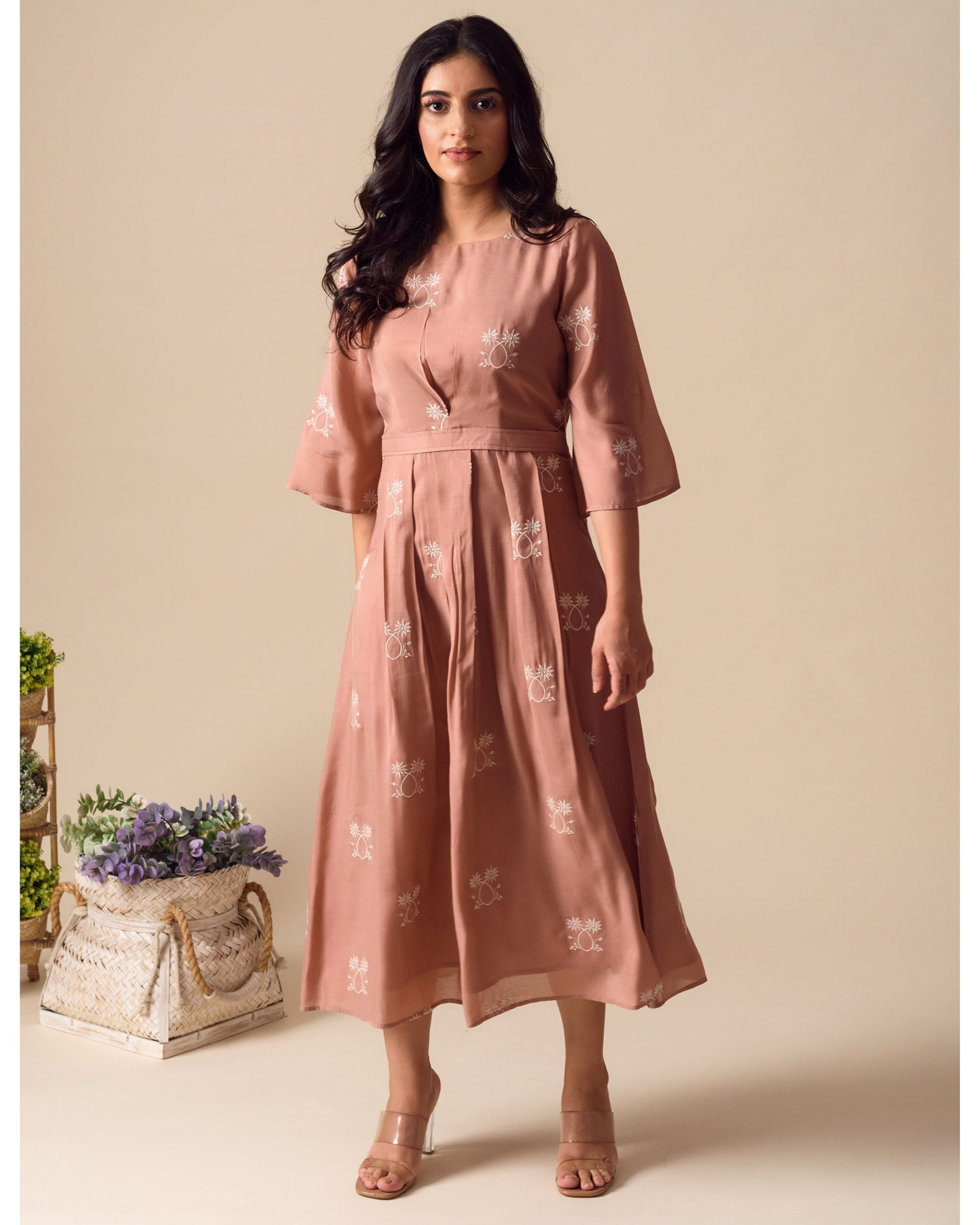 Deep pink embroidered pleated dress