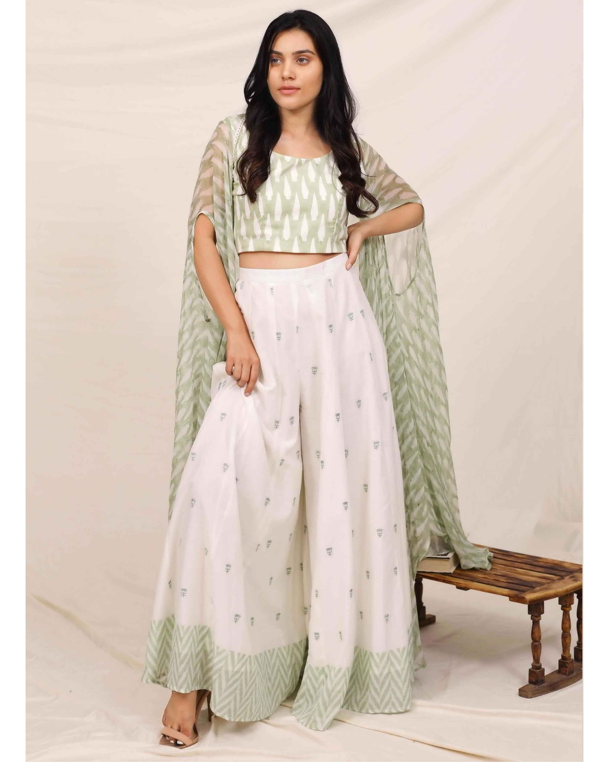 Mint green block printed crop top with chevron palazzo and cape - Set Of Three