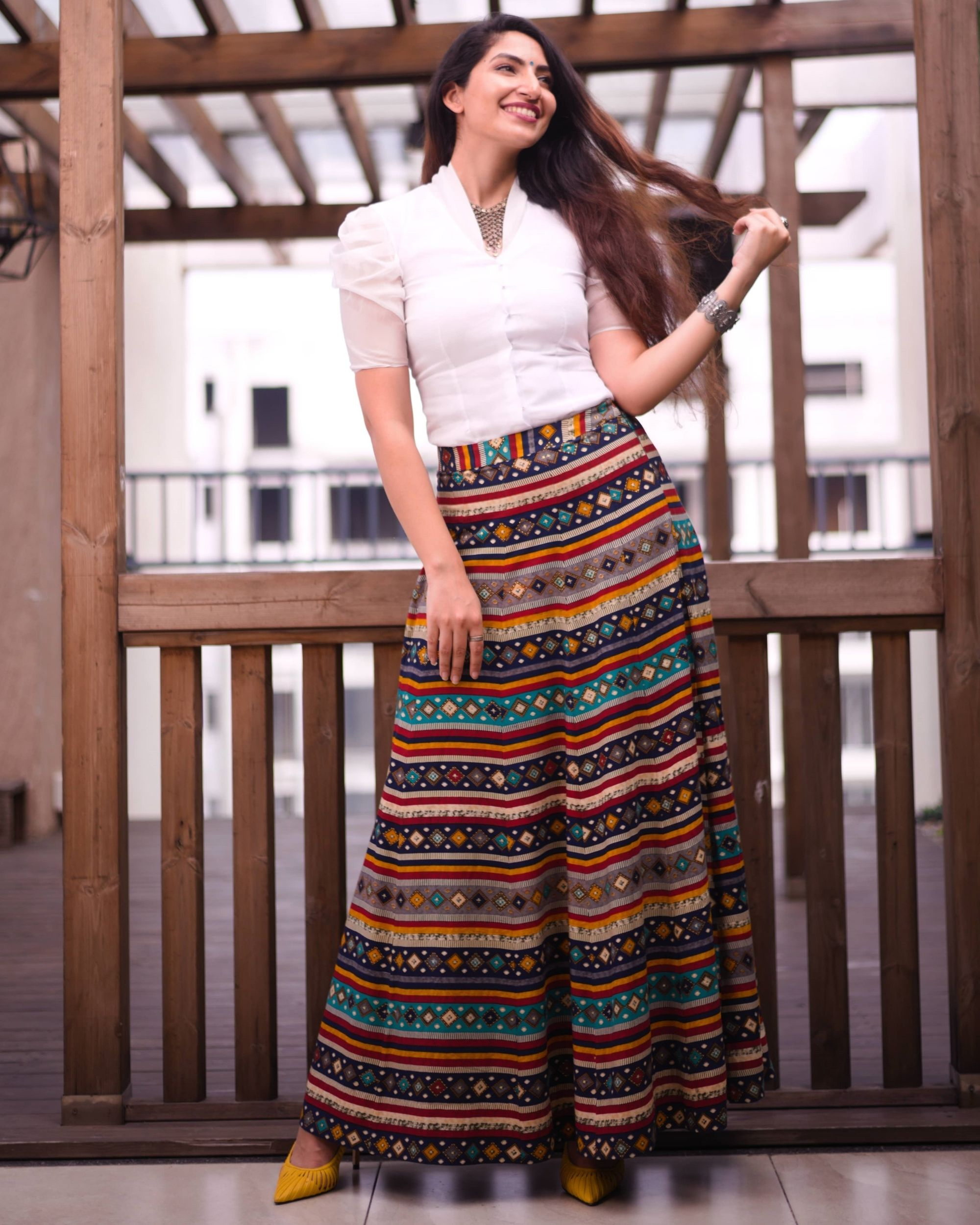 Multi color skirt with white organza top - set of two