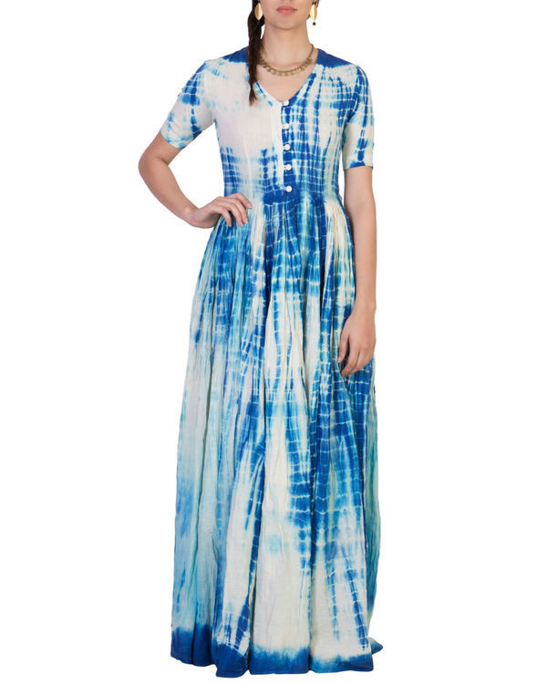 Blue tye and dye maxi