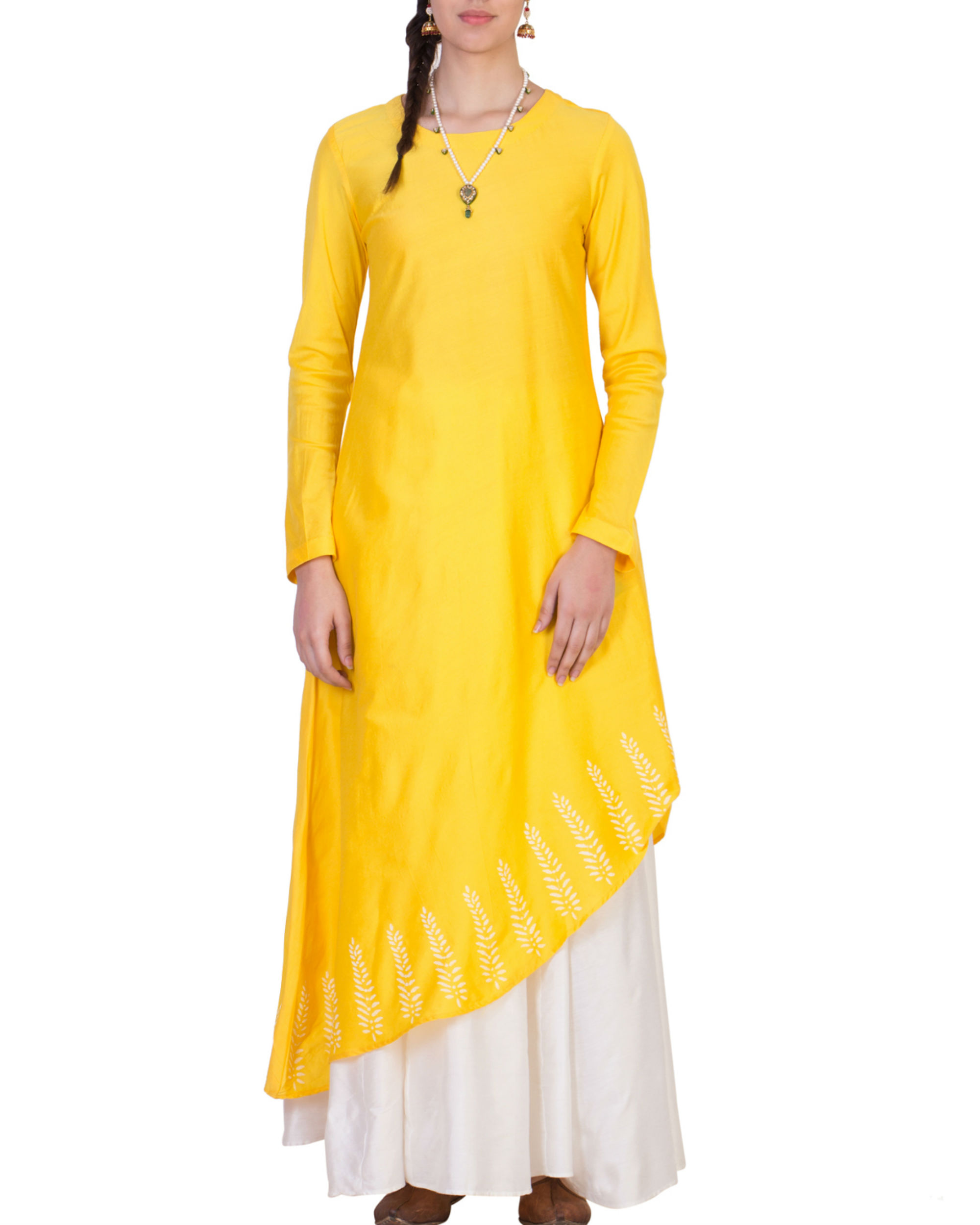 Yellow tunic with white skirt