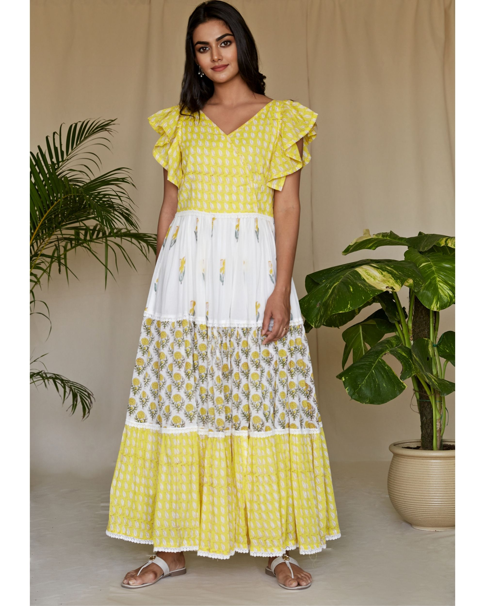 Lemon yellow floral printed tiered maxi dress