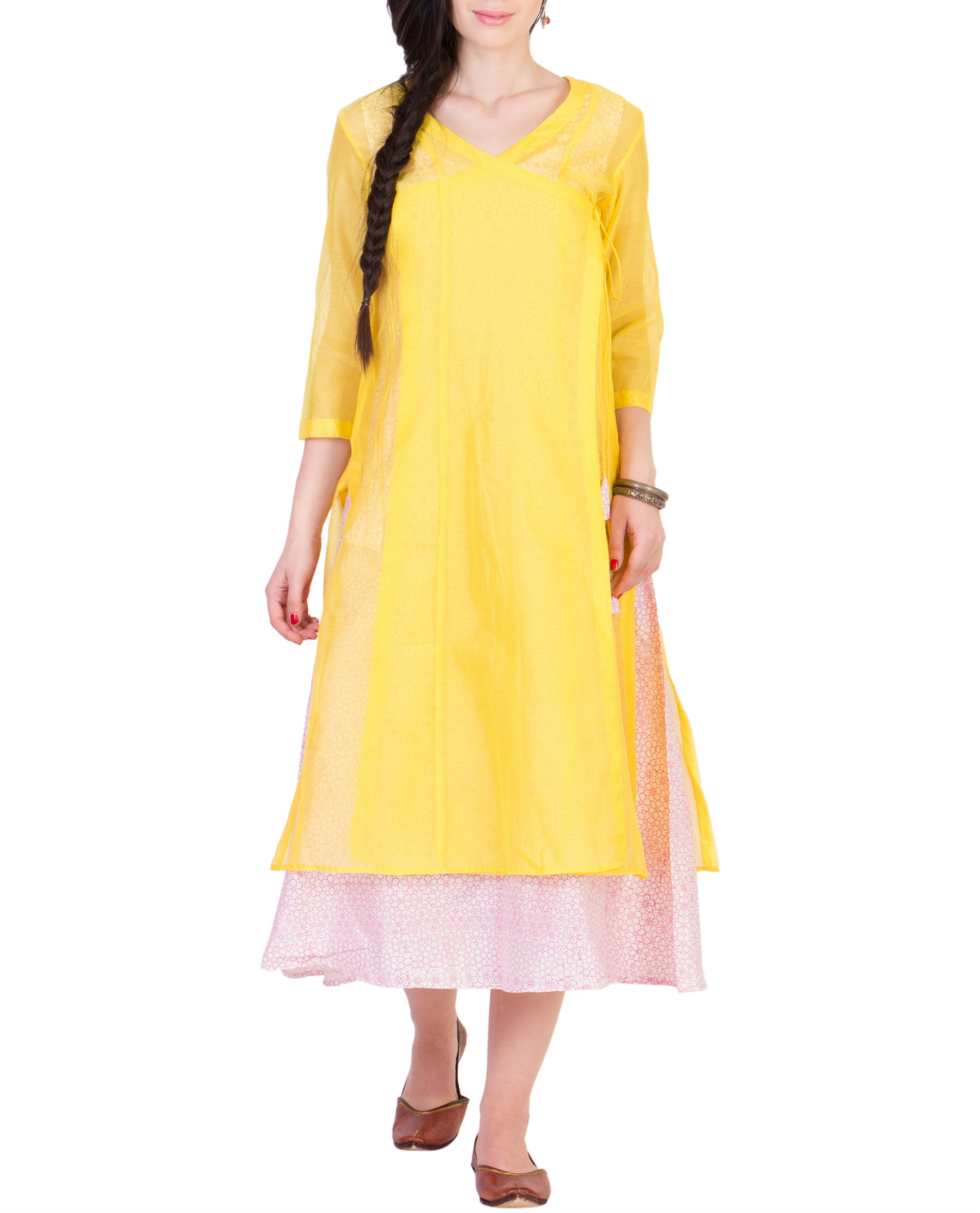 Yellow wrap kurta with printed tunic inside