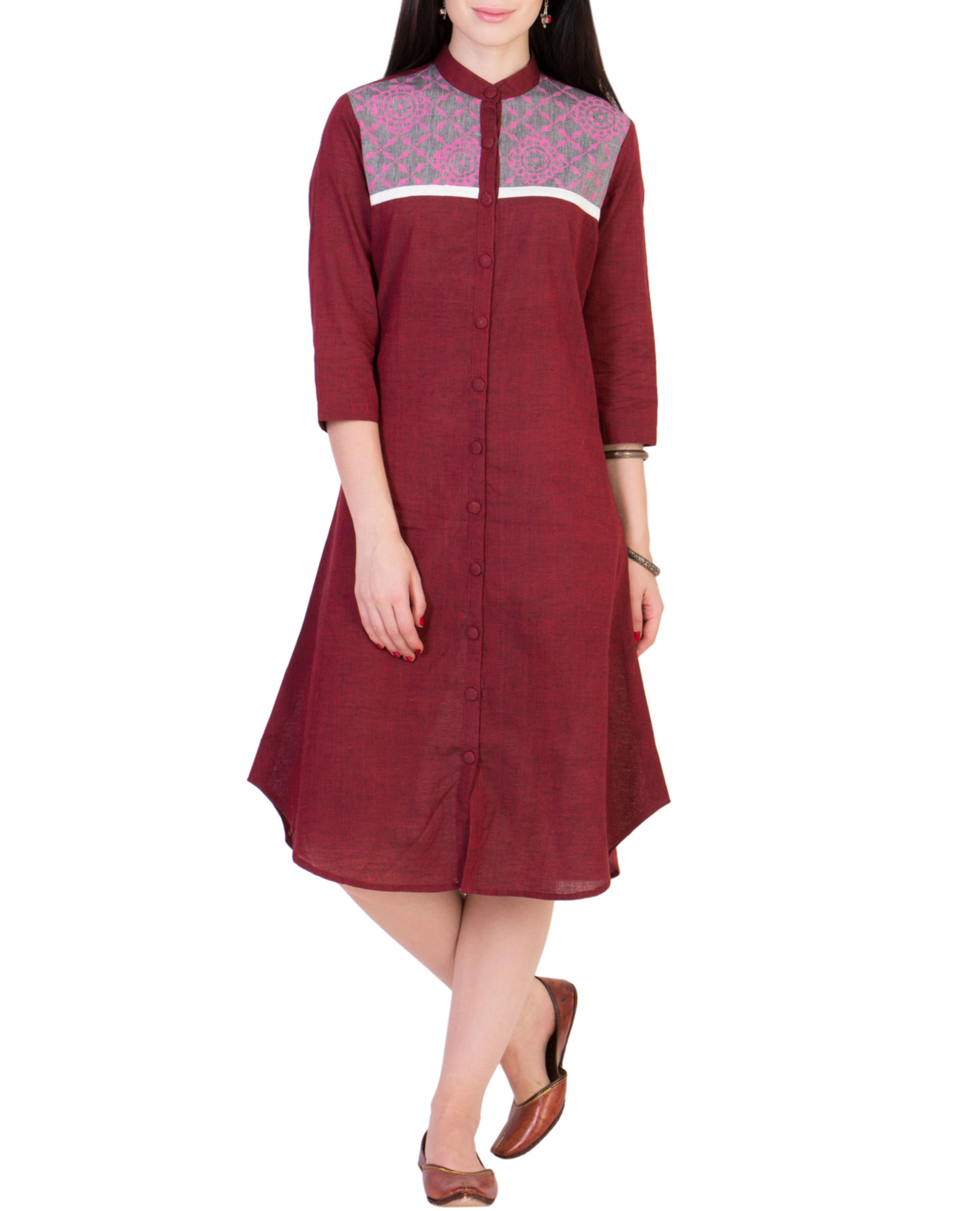 Maroon tunic with printed yoke