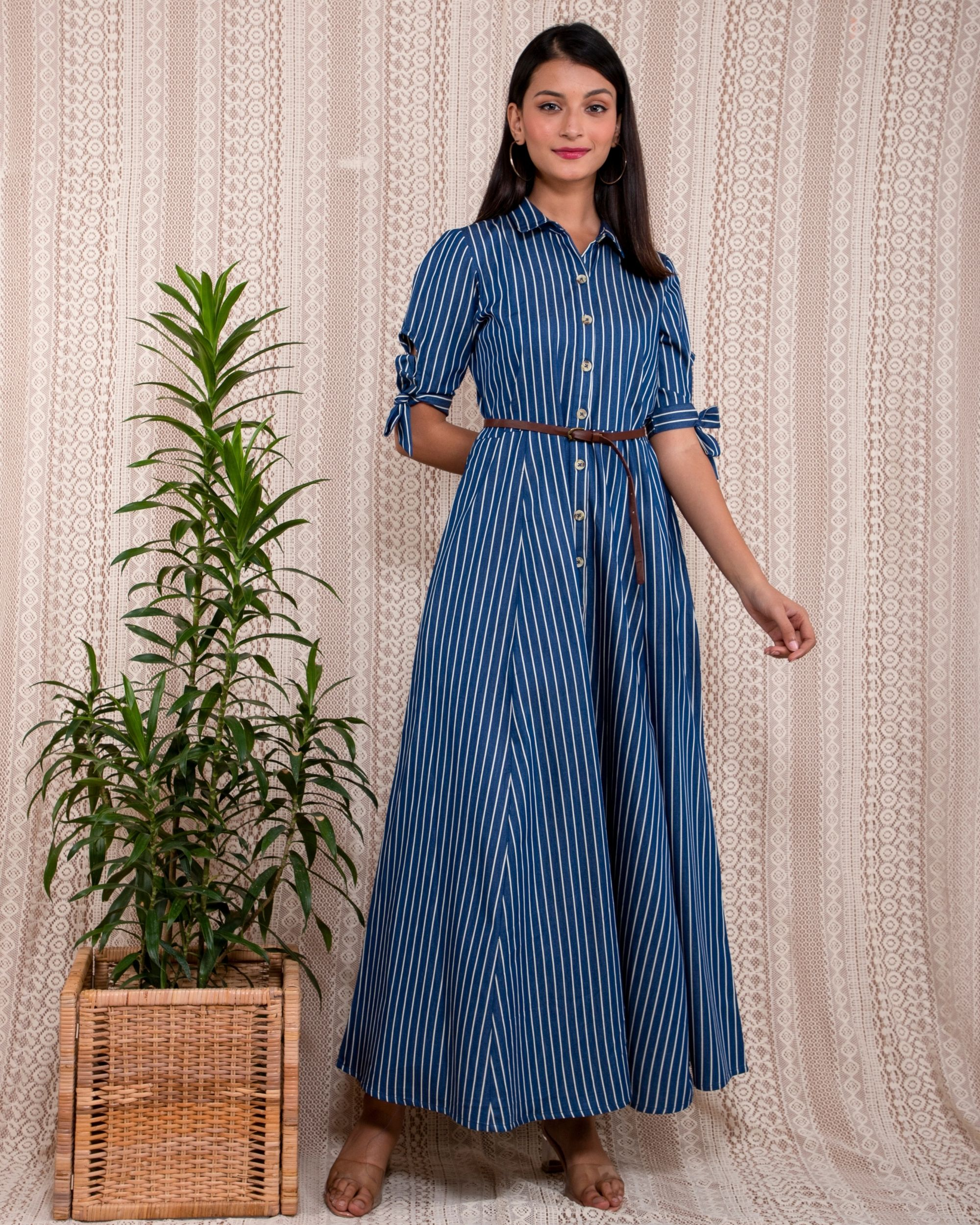 Blue striped button down dress with belt - Set Of Two