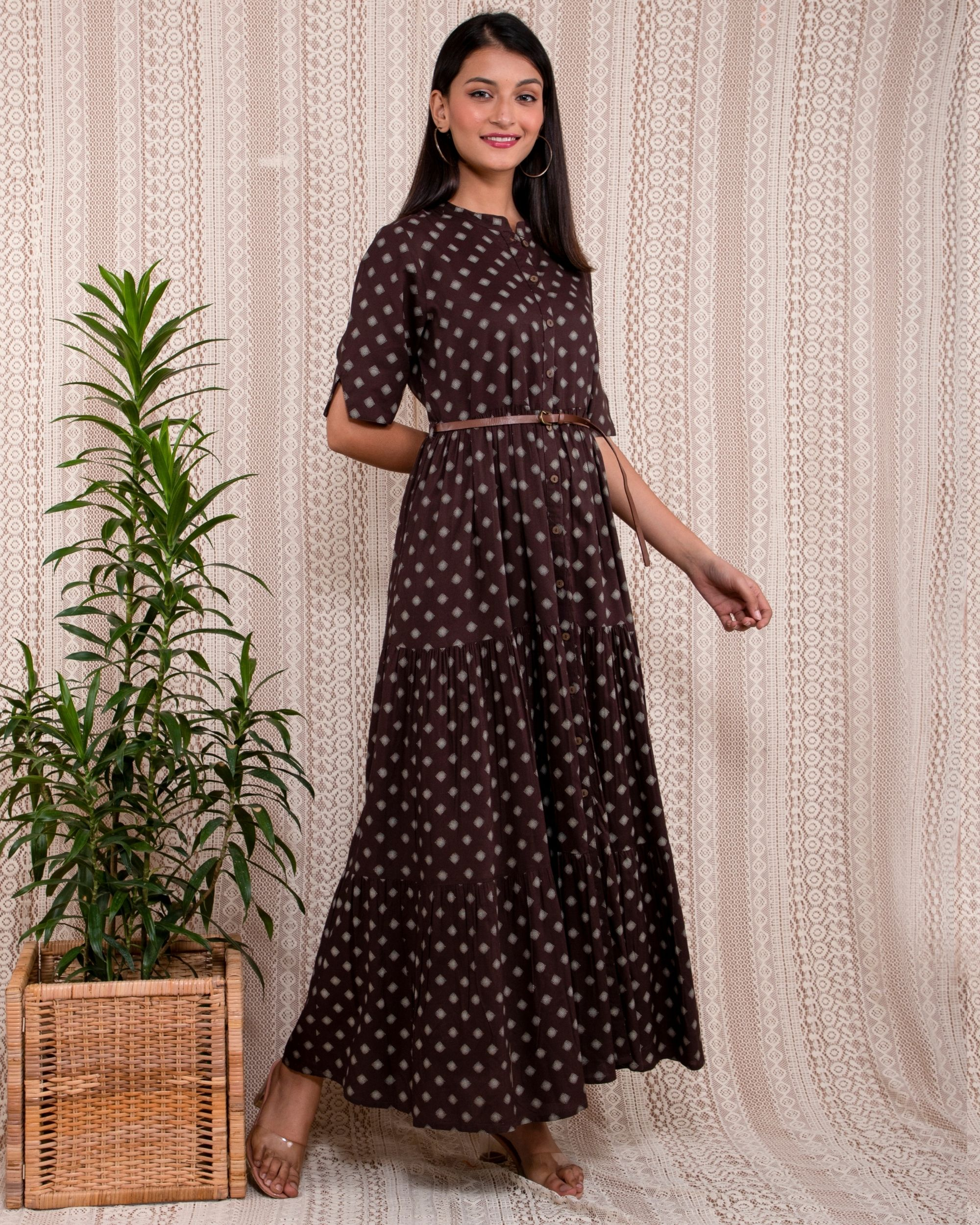 Dark brown and beige printed mandarin dress with belt - Set Of Two
