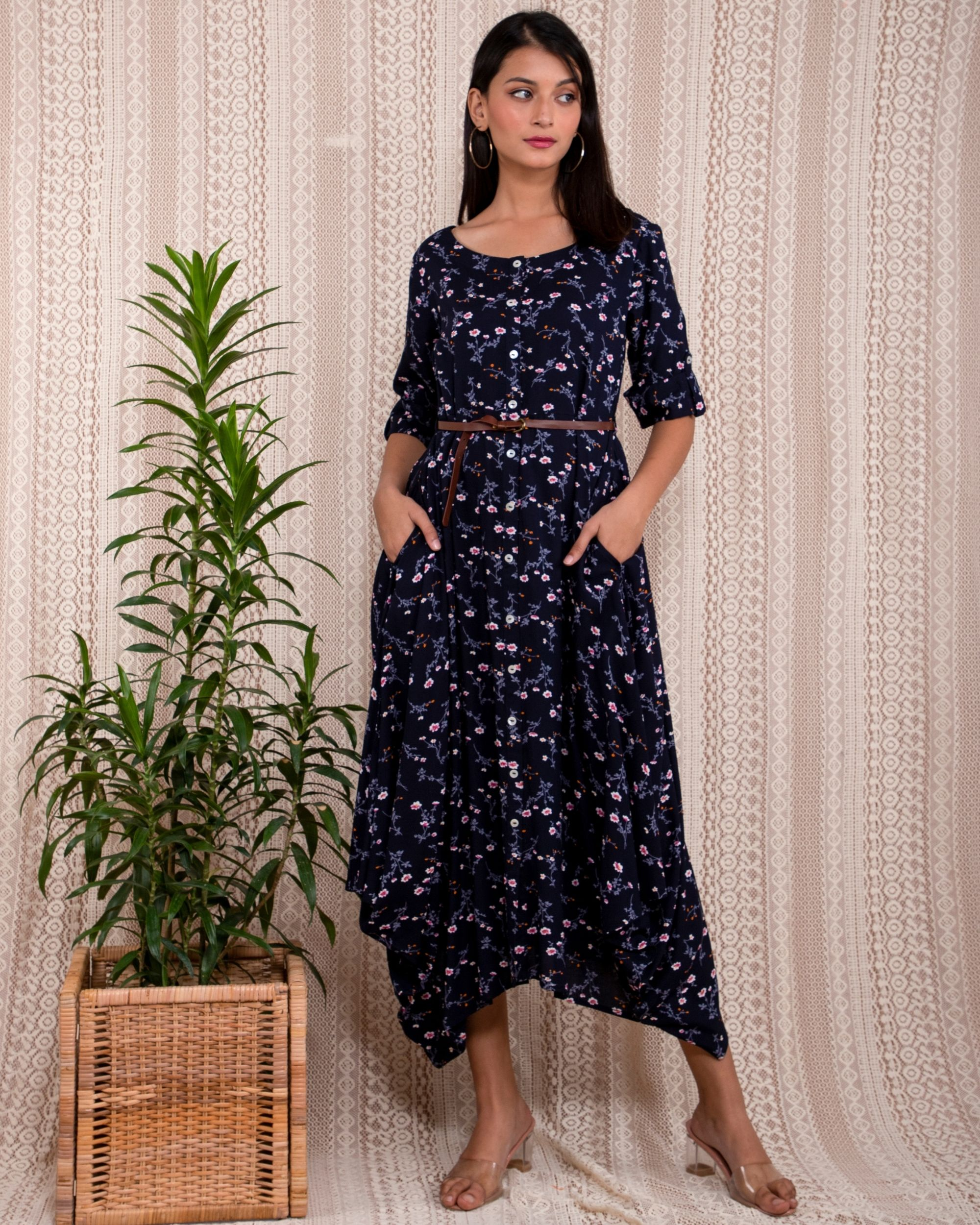 Navy blue floral printed asymmetrical dress with belt - Set Of Two