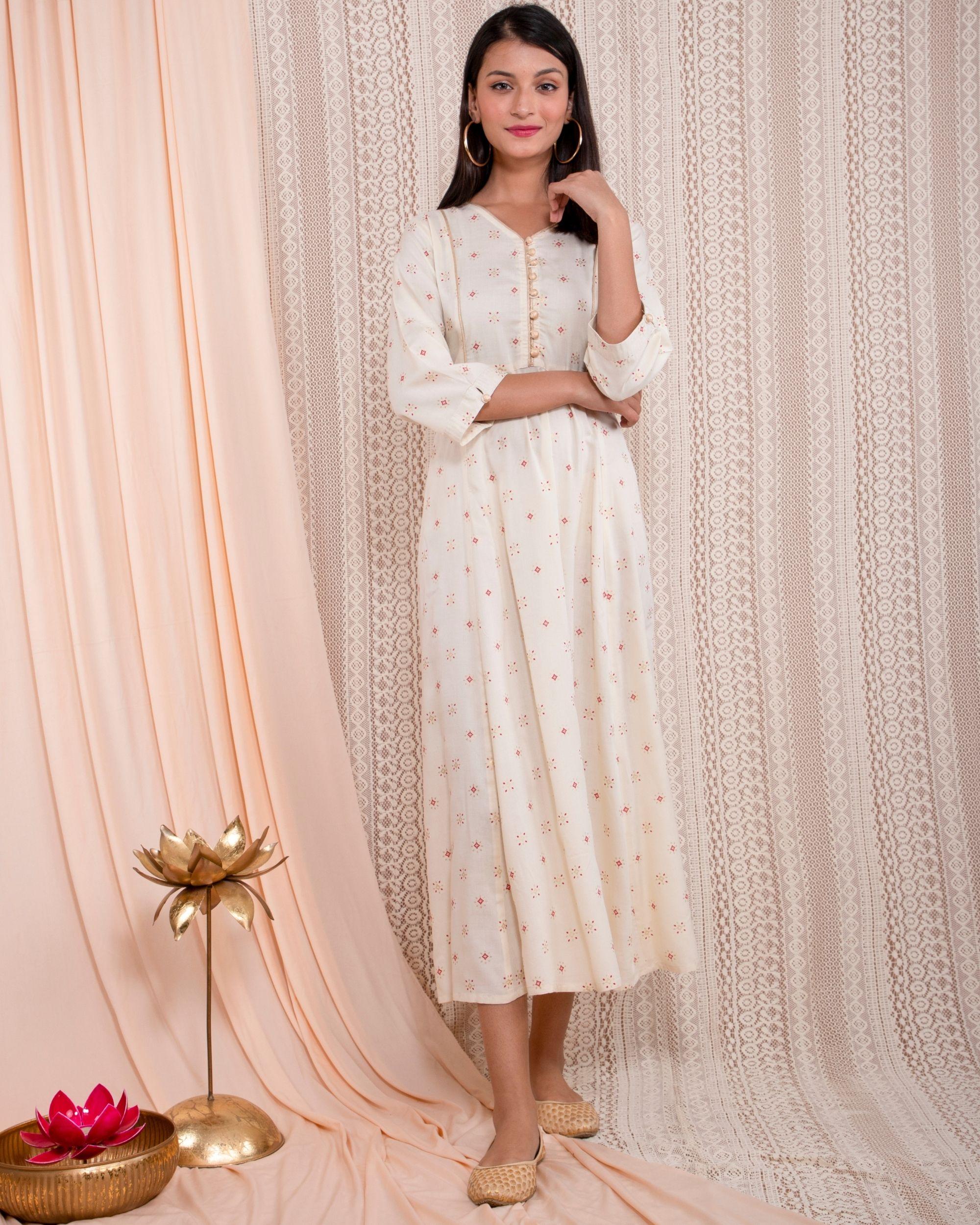 White printed yoke dress