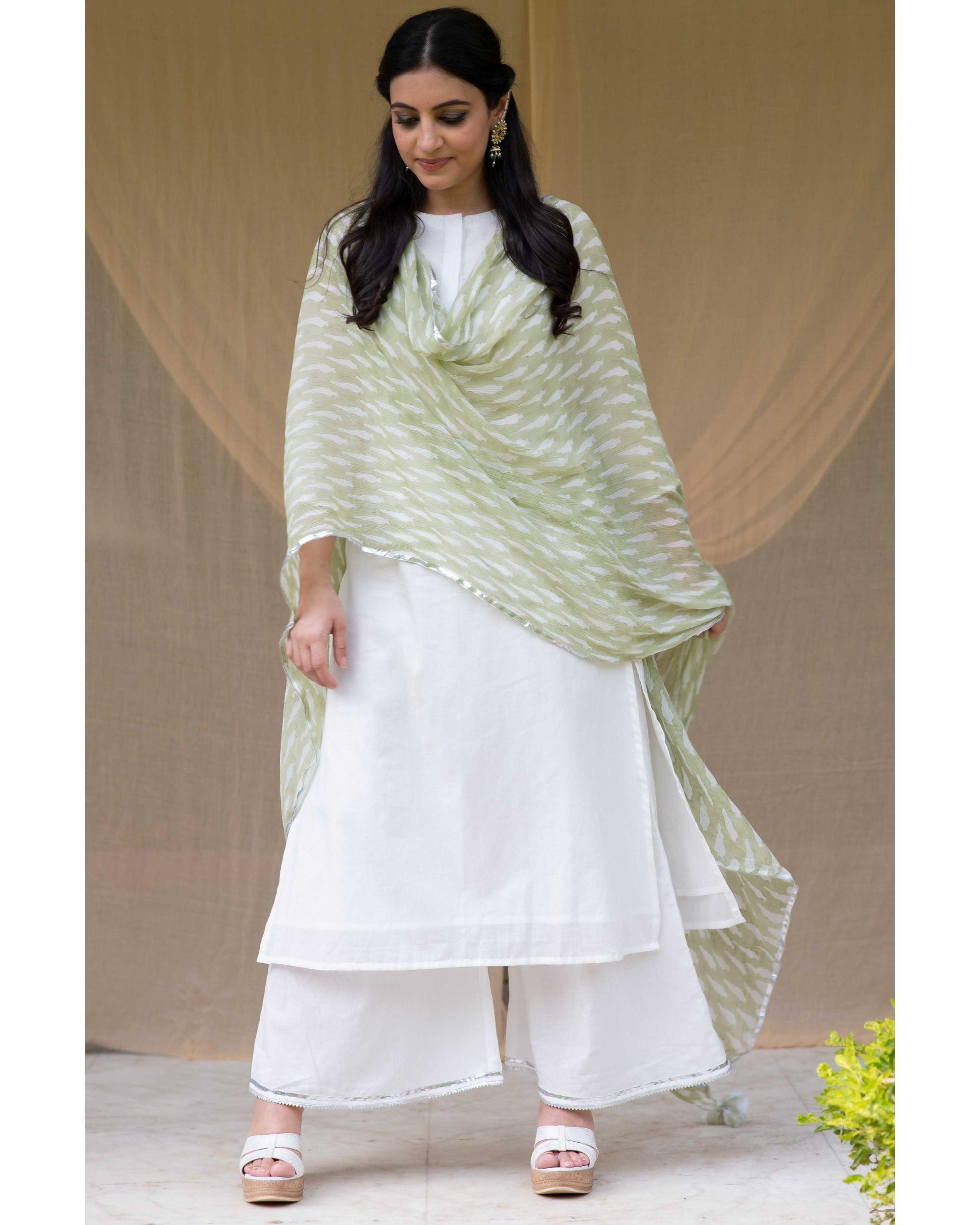 White cotton kurta with gota palazzo and olive green dupatta - Set Of Three