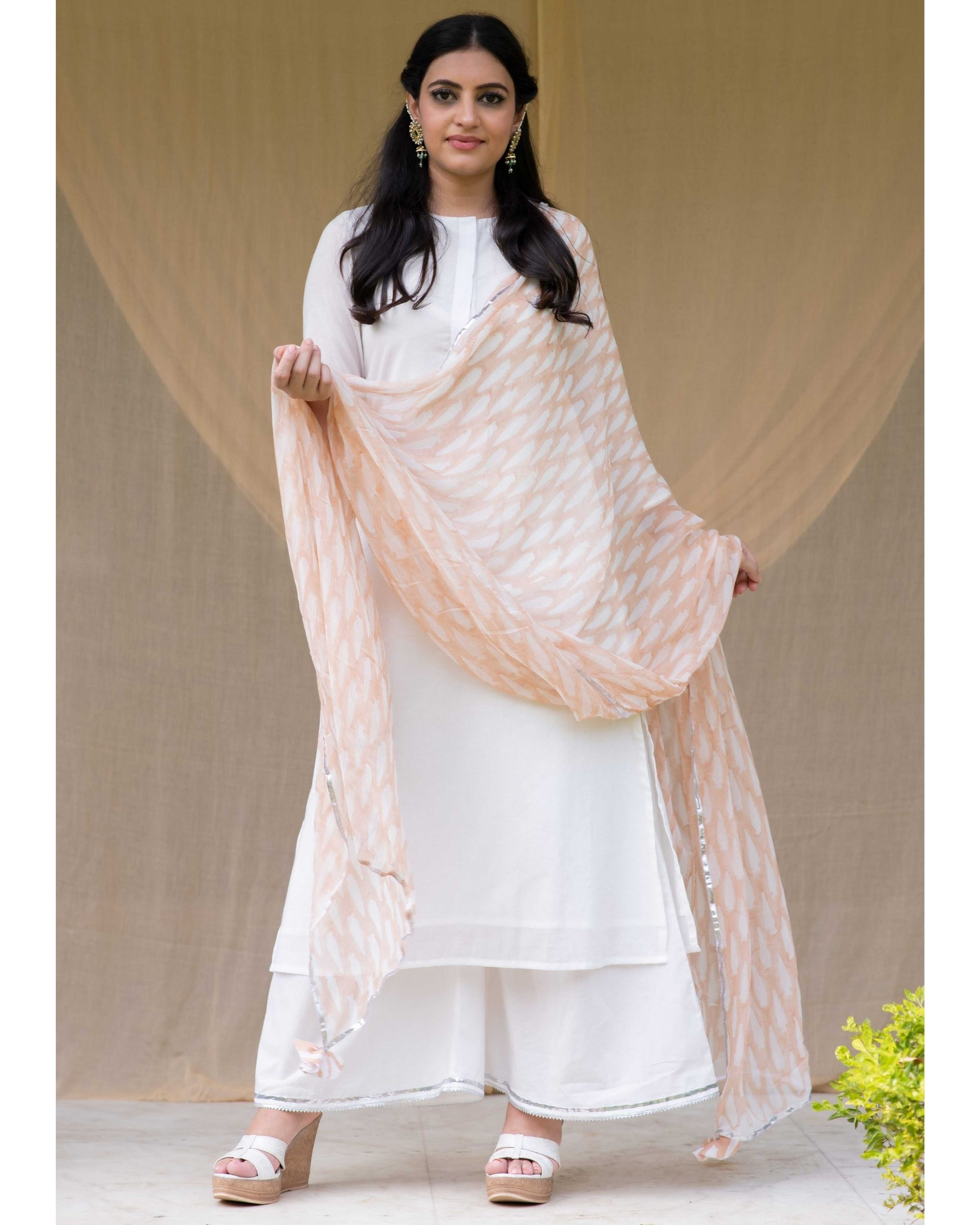 White cotton kurta with gota palazzo and light peach dupatta - Set Of Three