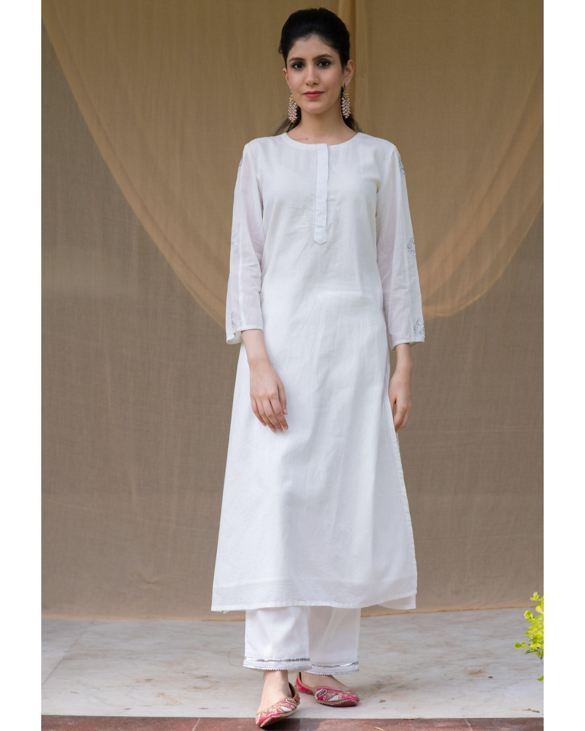 White embroidered kurta and gota pants - Set Of Two