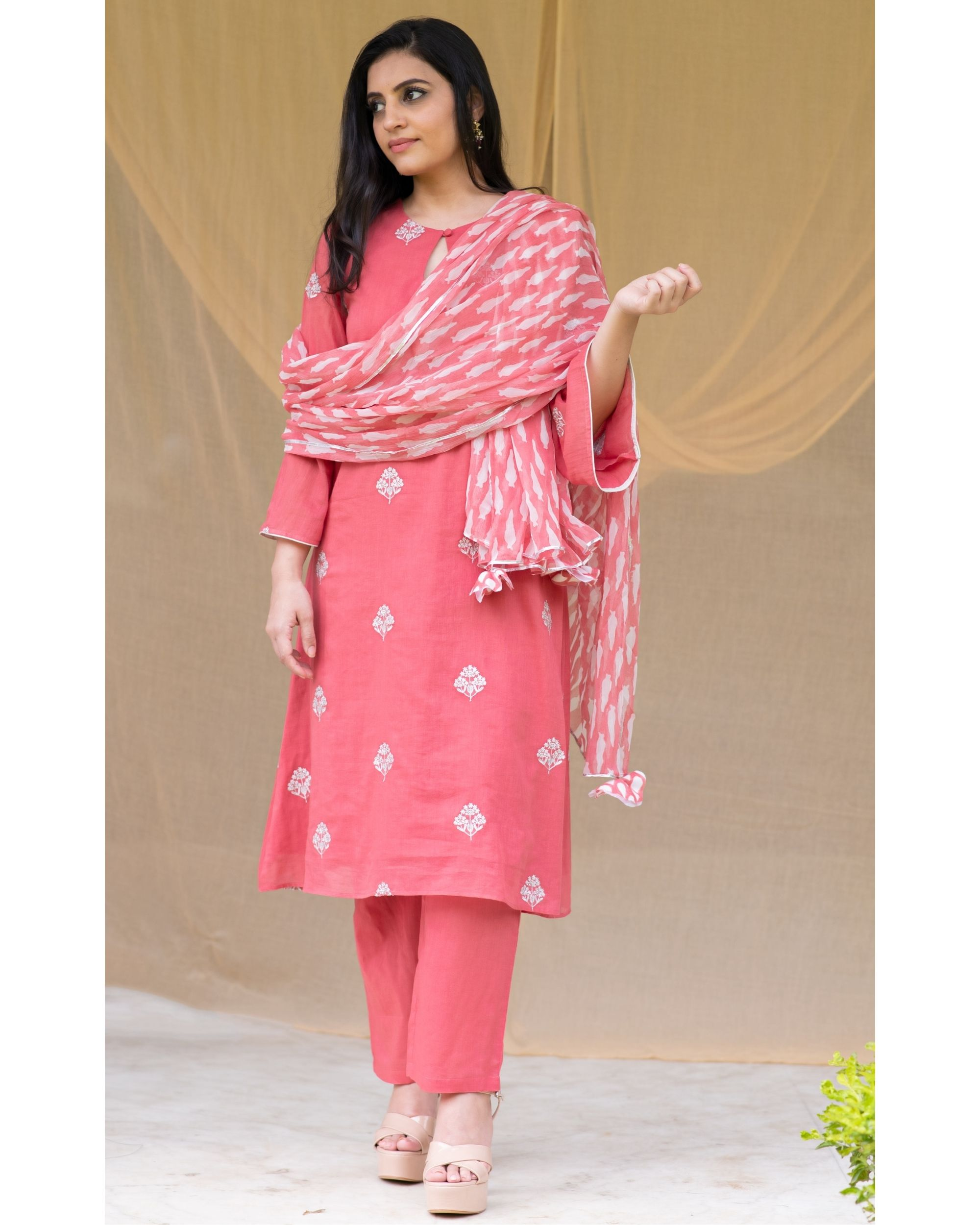 Red embroidered kurta and pants with block printed dupatta - Set Of Three