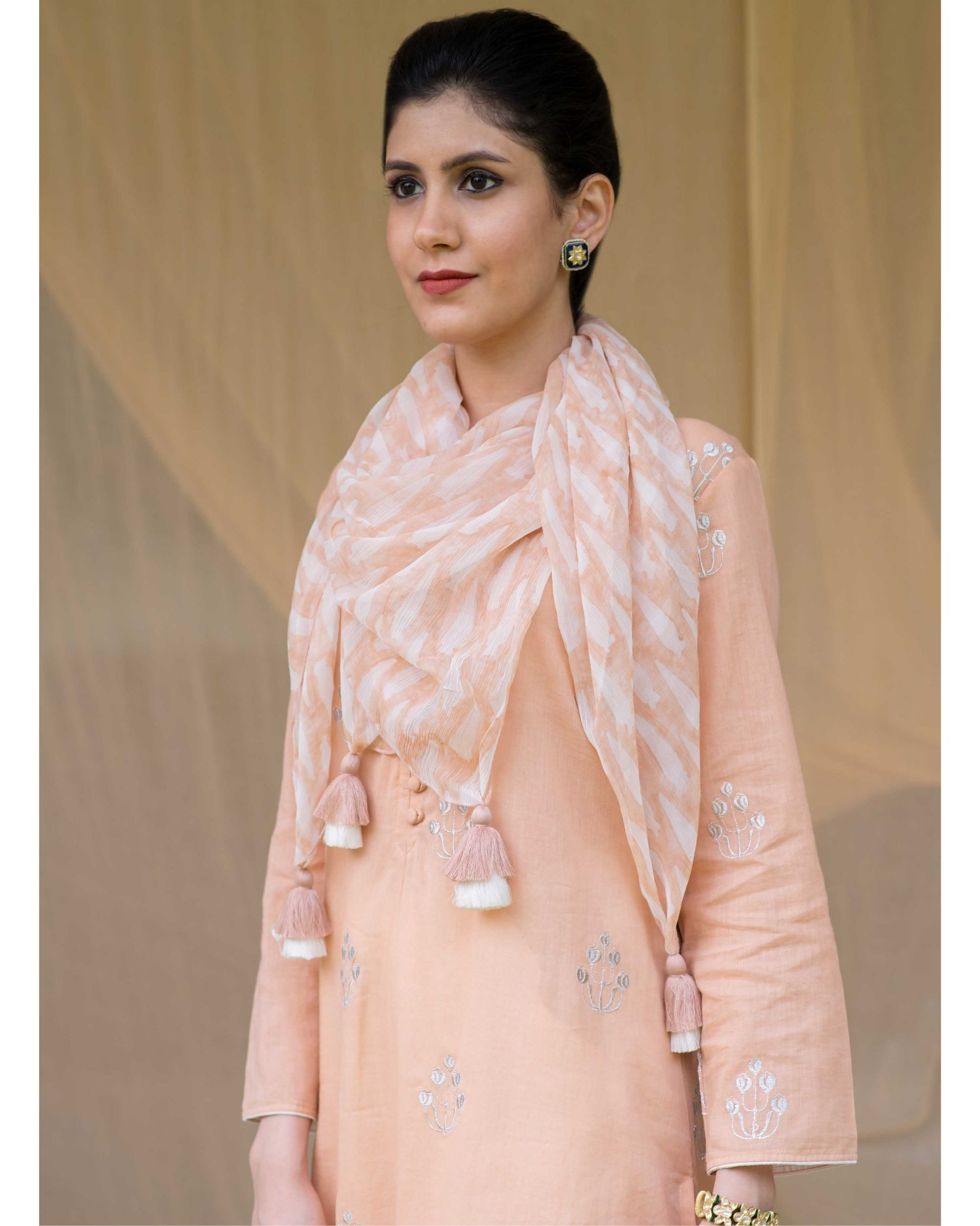 Peach embroidered kurta and chevron pants with printed stole - Set Of Three
