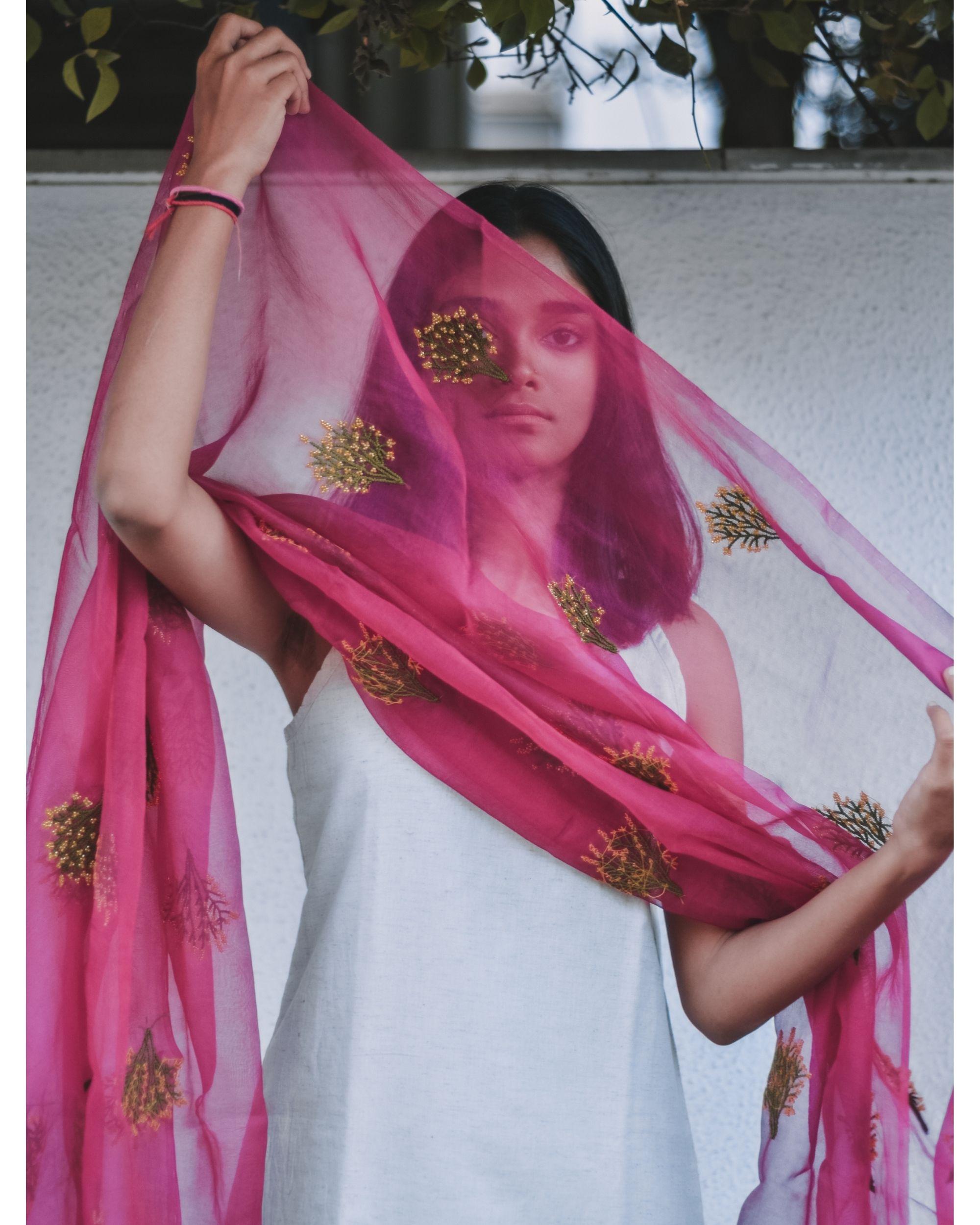 Rani pink bead embroidered organza dupatta