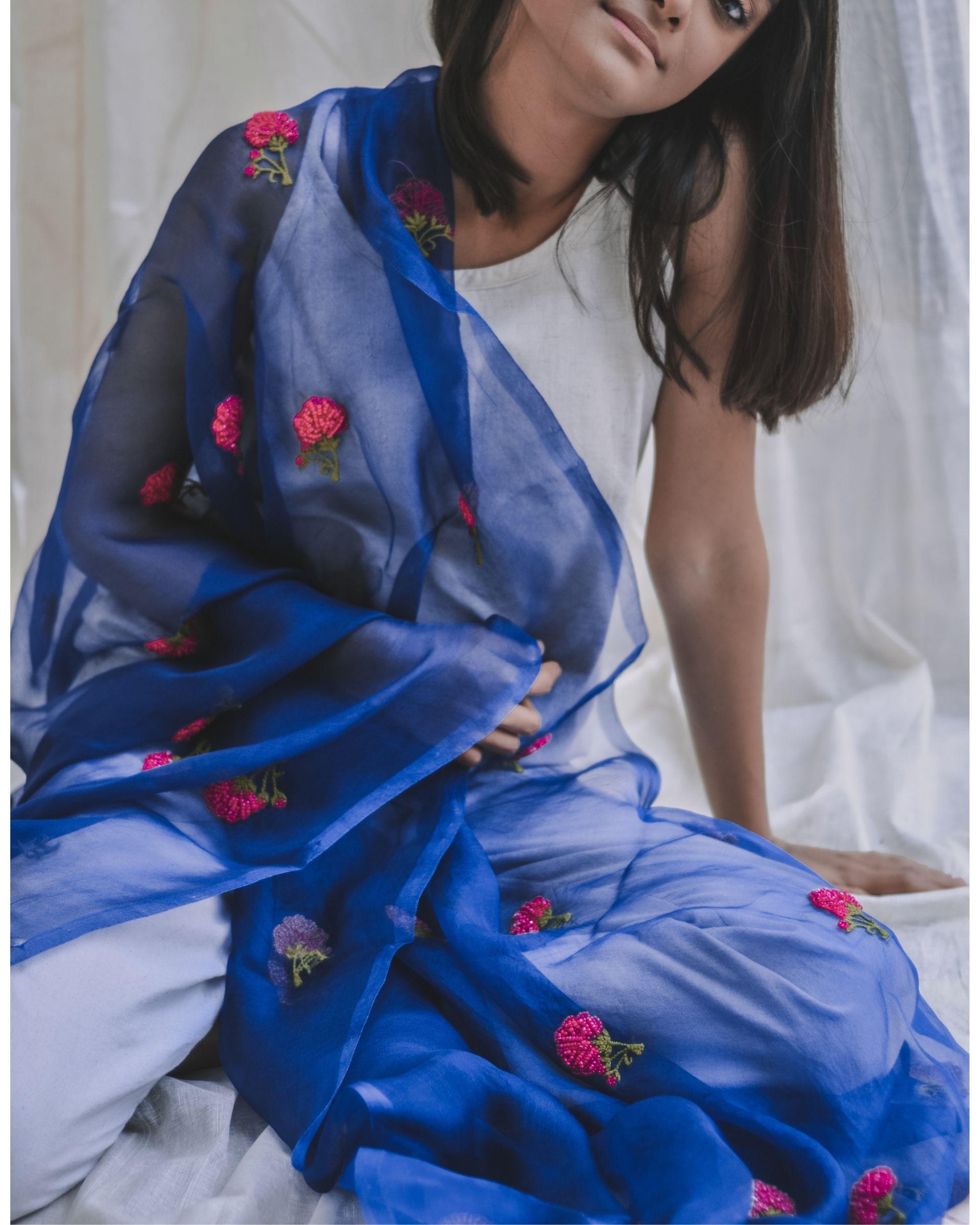 Royal blue bead embroidered organza dupatta