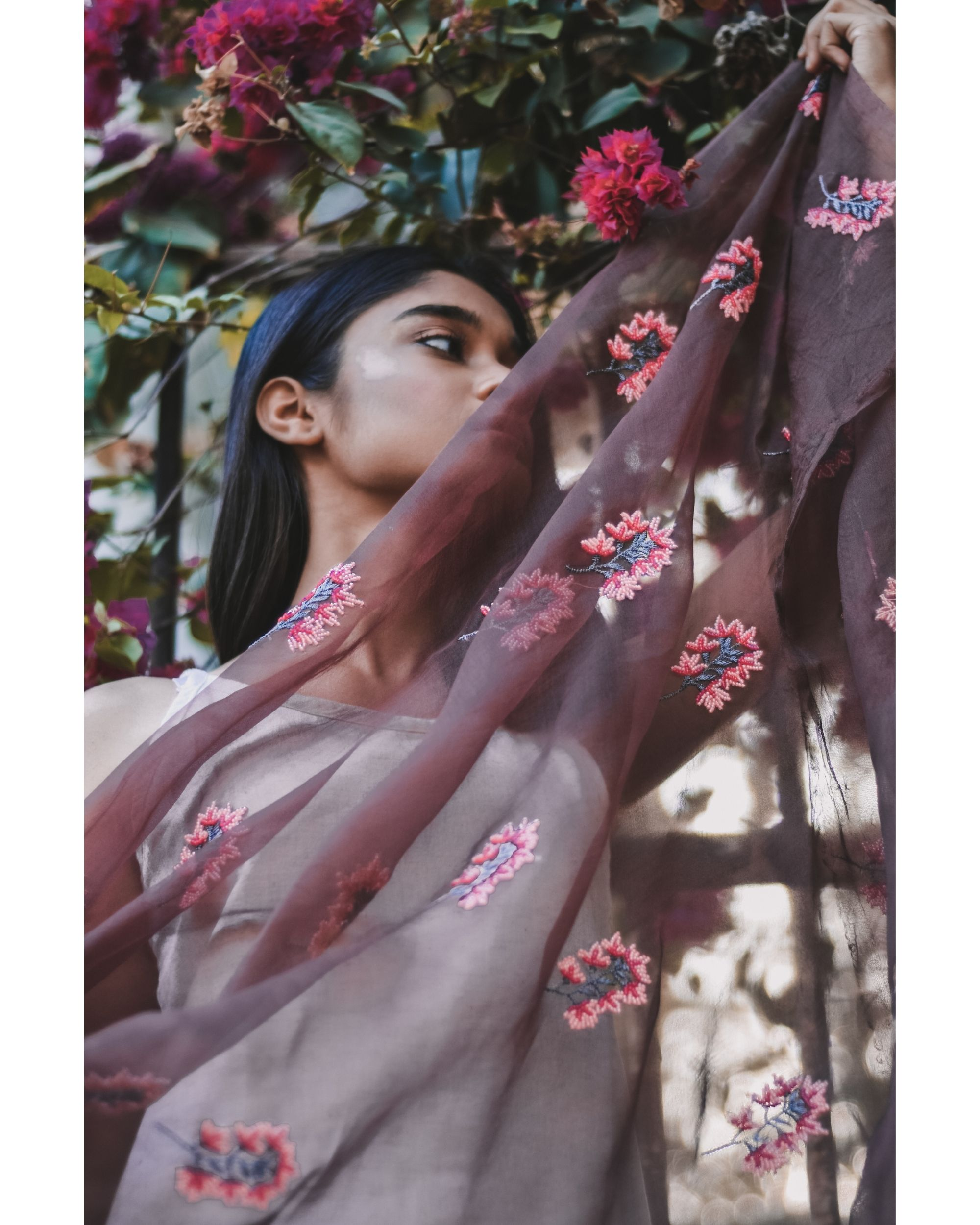 Old mauve hand dyed bead embroidered organza dupatta