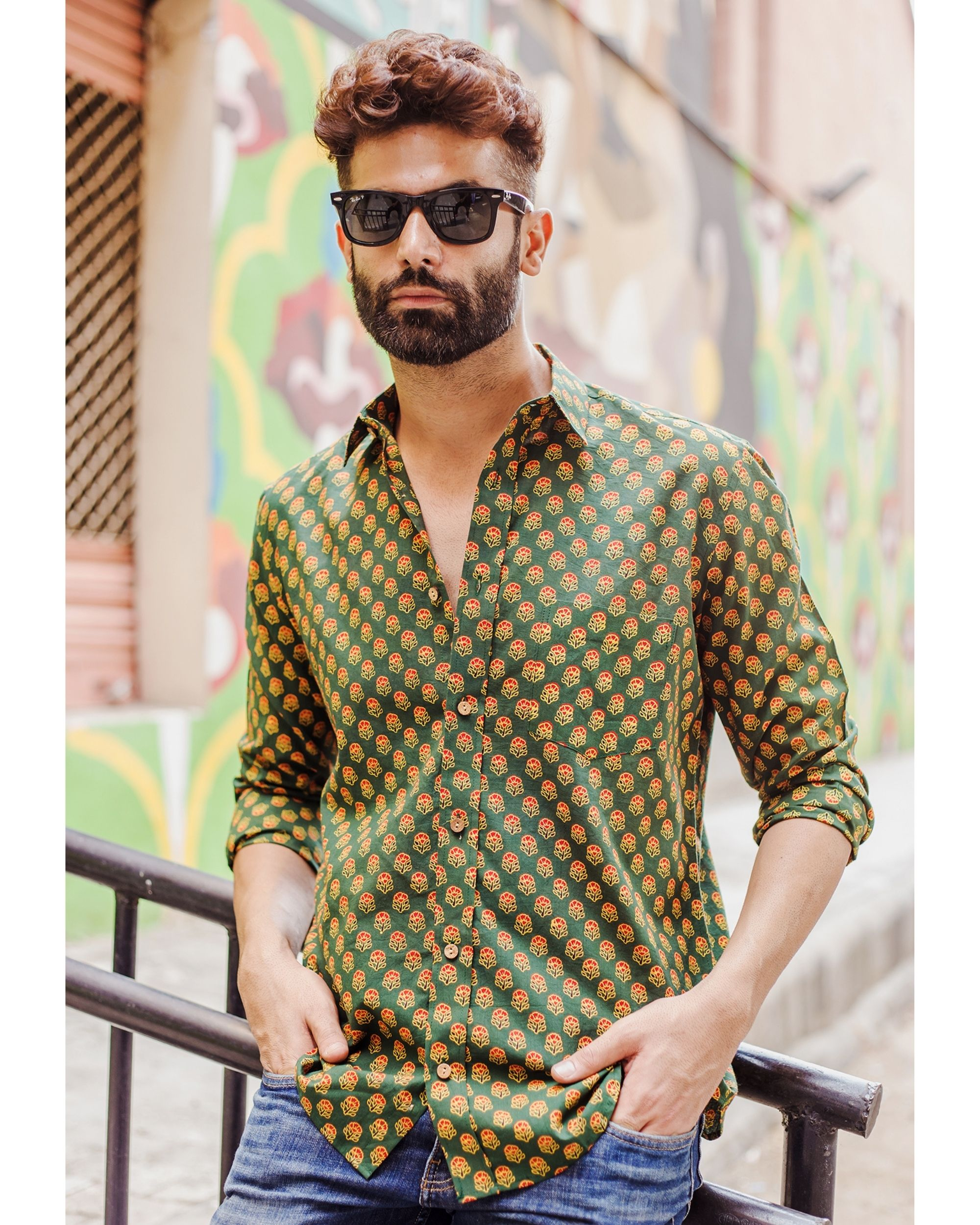 Green and red ajrakh floral printed shirt