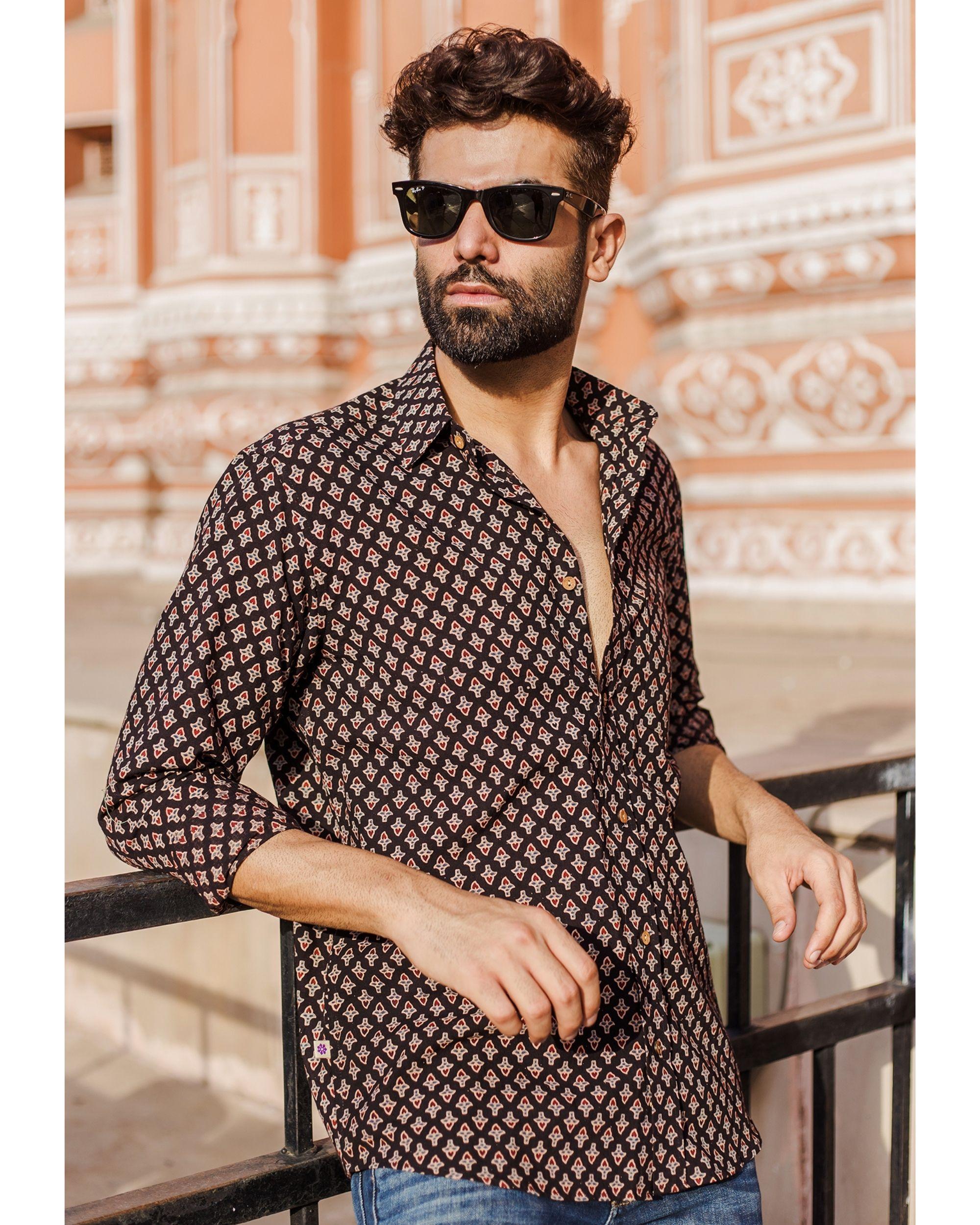 Black ajrakh booti printed shirt